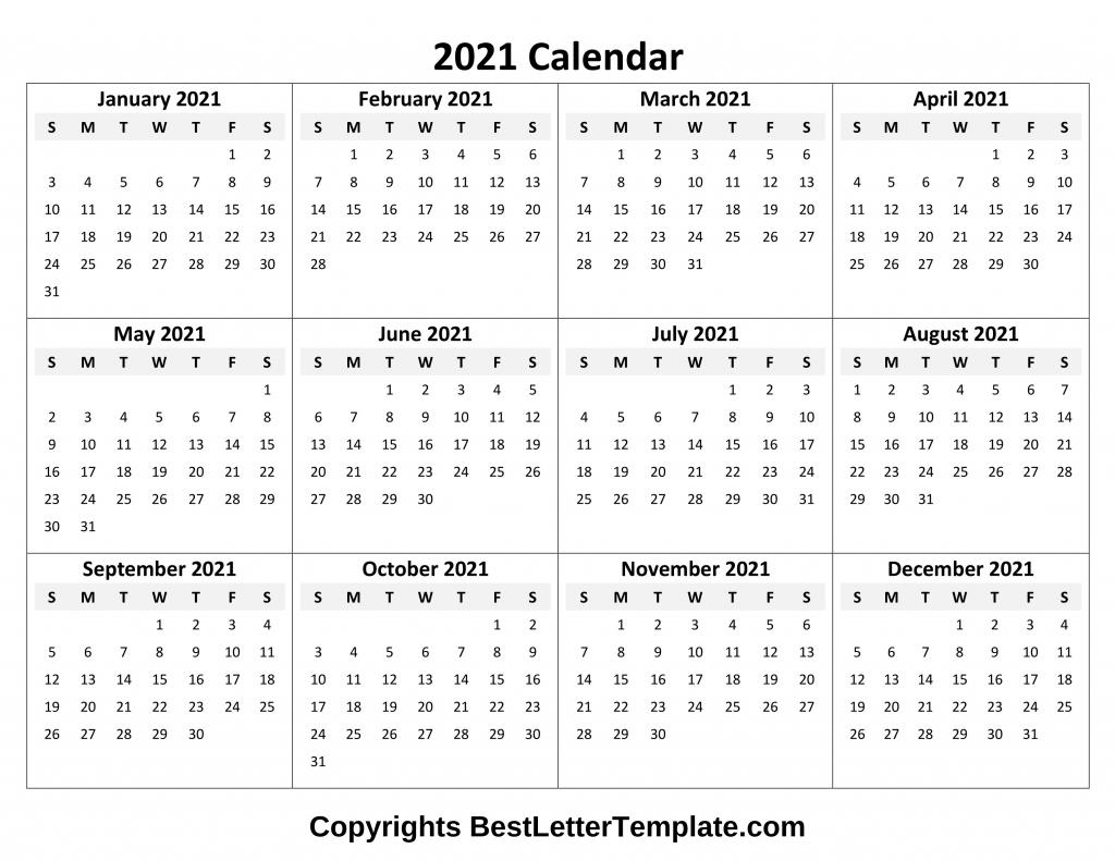 printable 2021 calendar template in pdf, word & excel