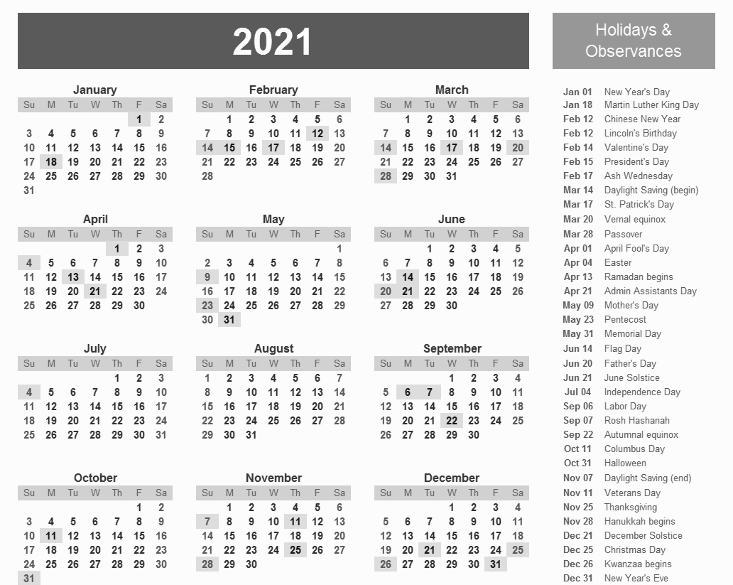 printable 2021 calendar with holidays in 2020   holiday