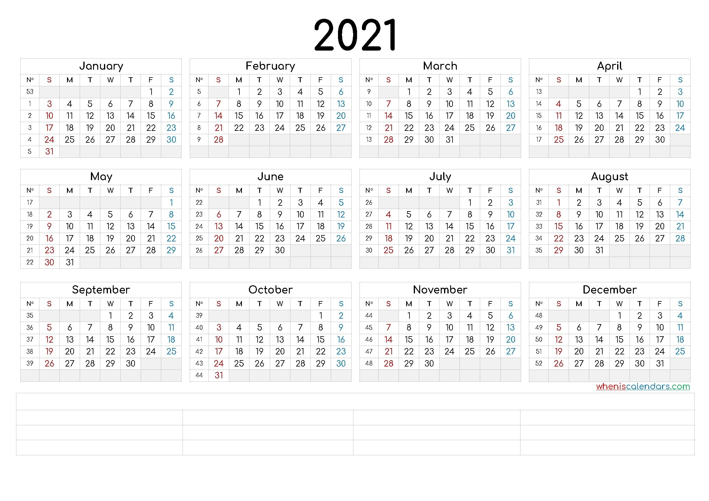 printable 2021 calendaryear (6 templates) – free
