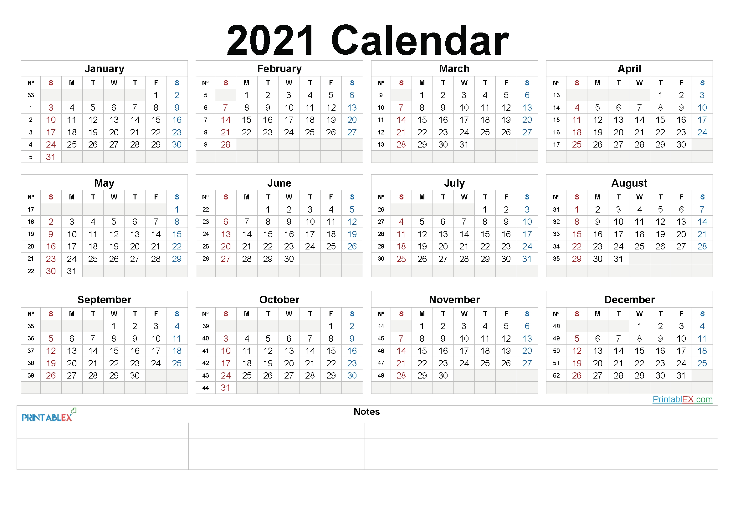 printable 2021 yearly calendar with week numbers – 21ytw203