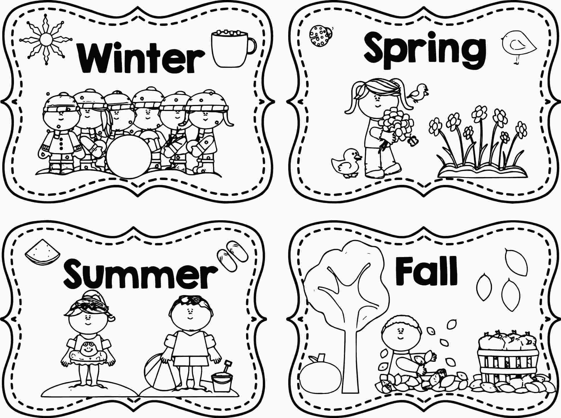 printable 4 seasons coloring page | seasons worksheets, fall