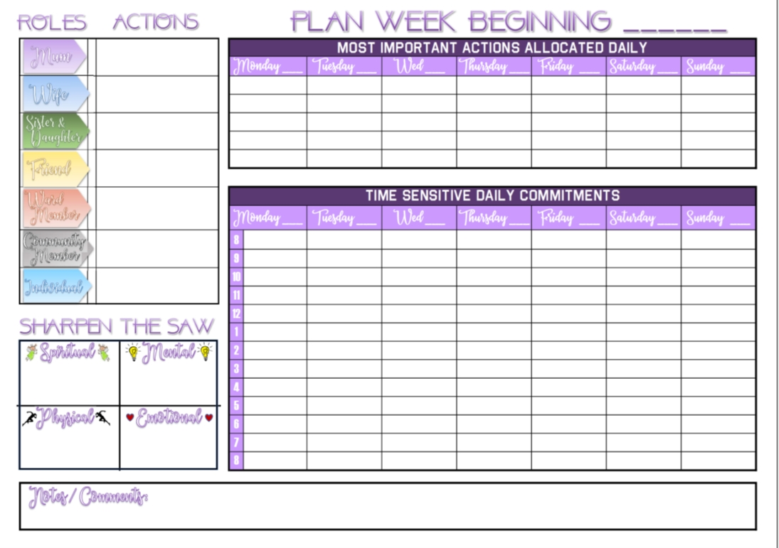 printable a4 pdf weekly wall planner / calendar based on the