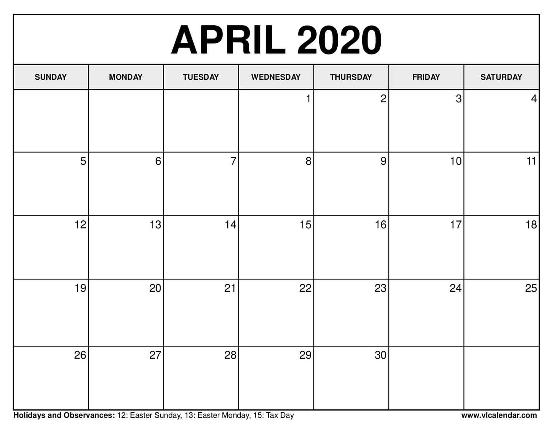 Printable April 2020 Calendars