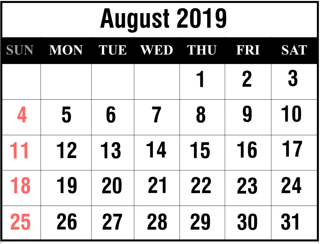 printable august 2019 calendar with holidays [pdf, excel