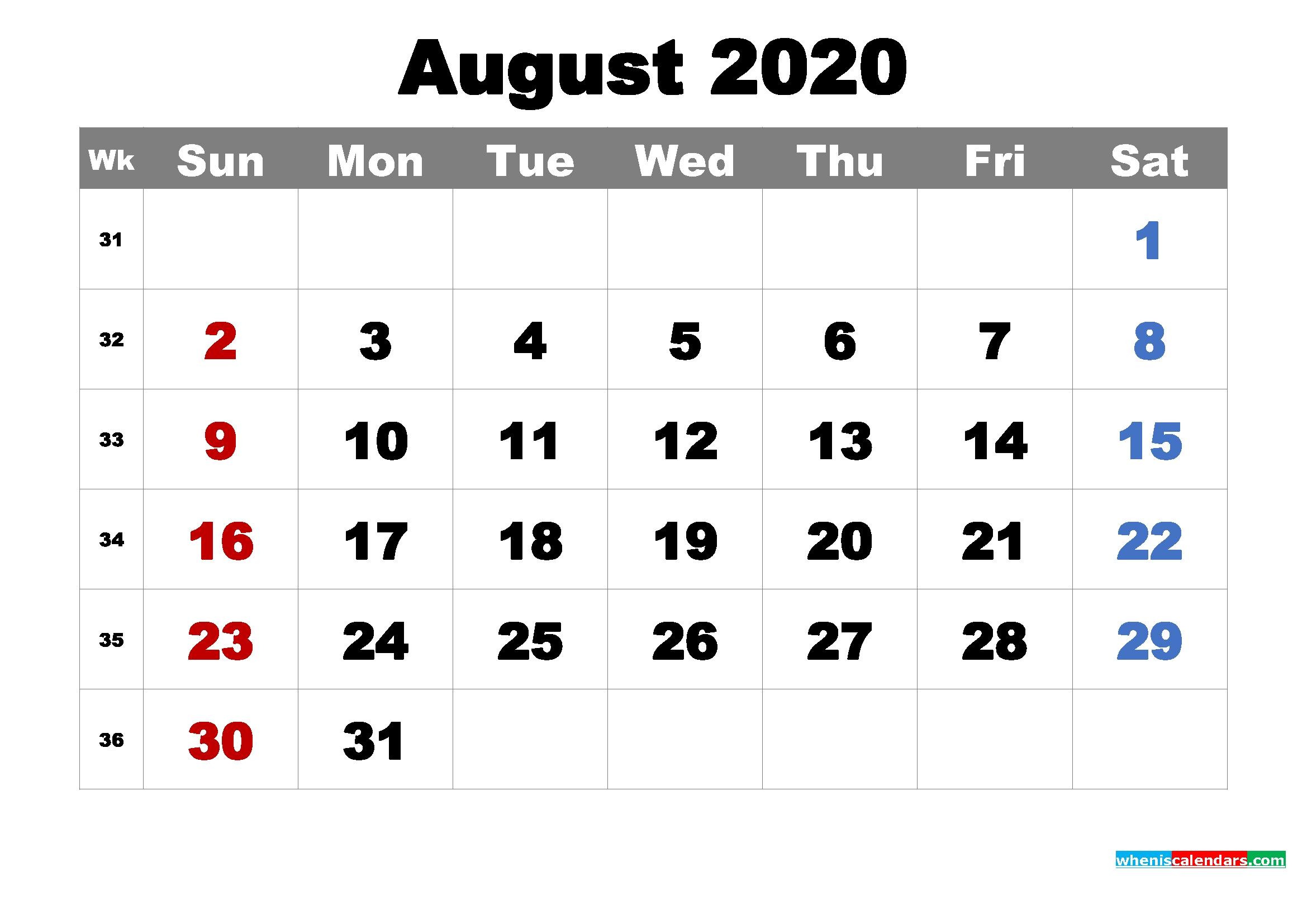 printable august 2020 calendarmonth – free printable