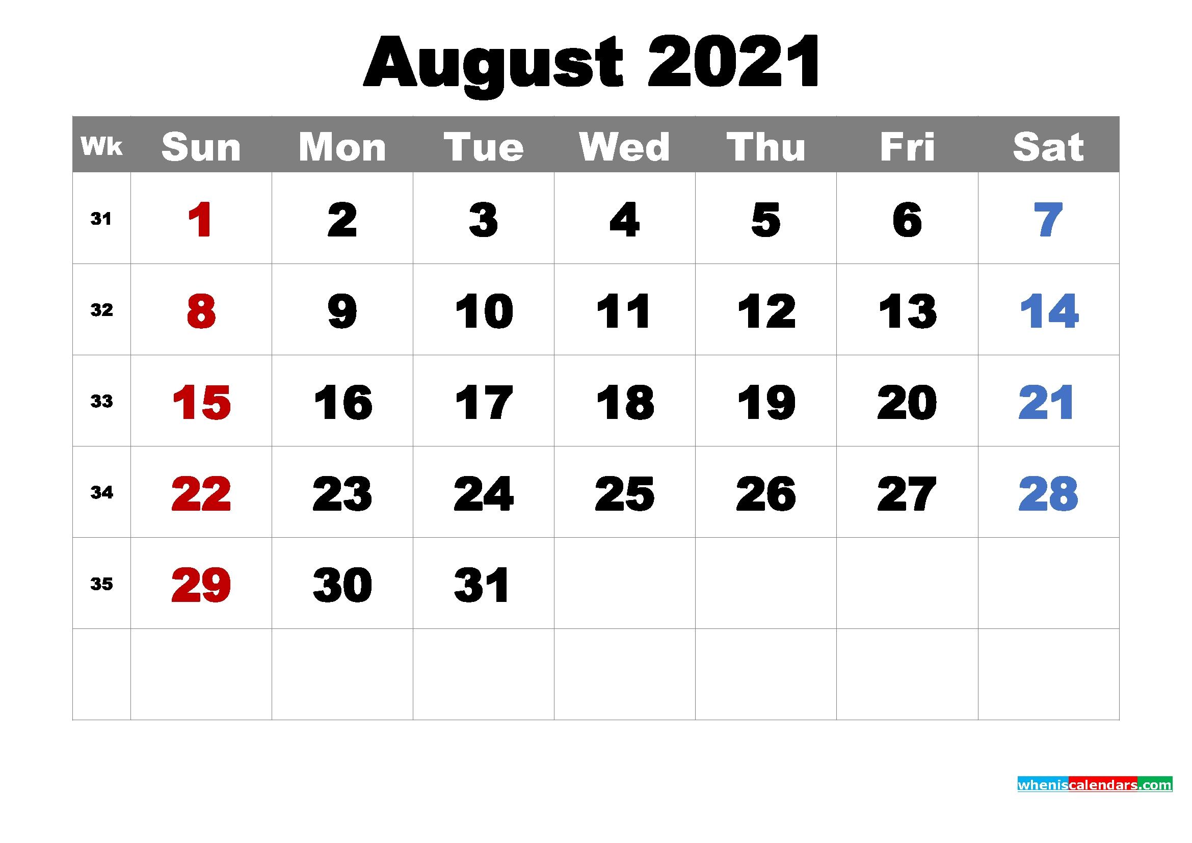 printable august 2021 calendarmonth – free printable