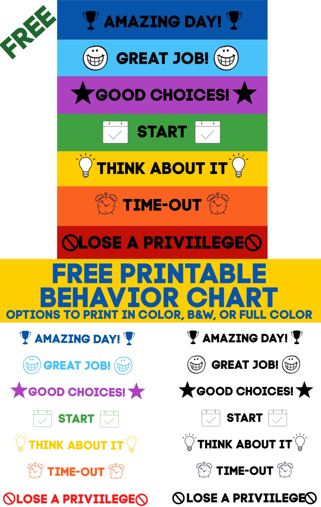 Printable Behavior Chart (free Download) 10 More Free