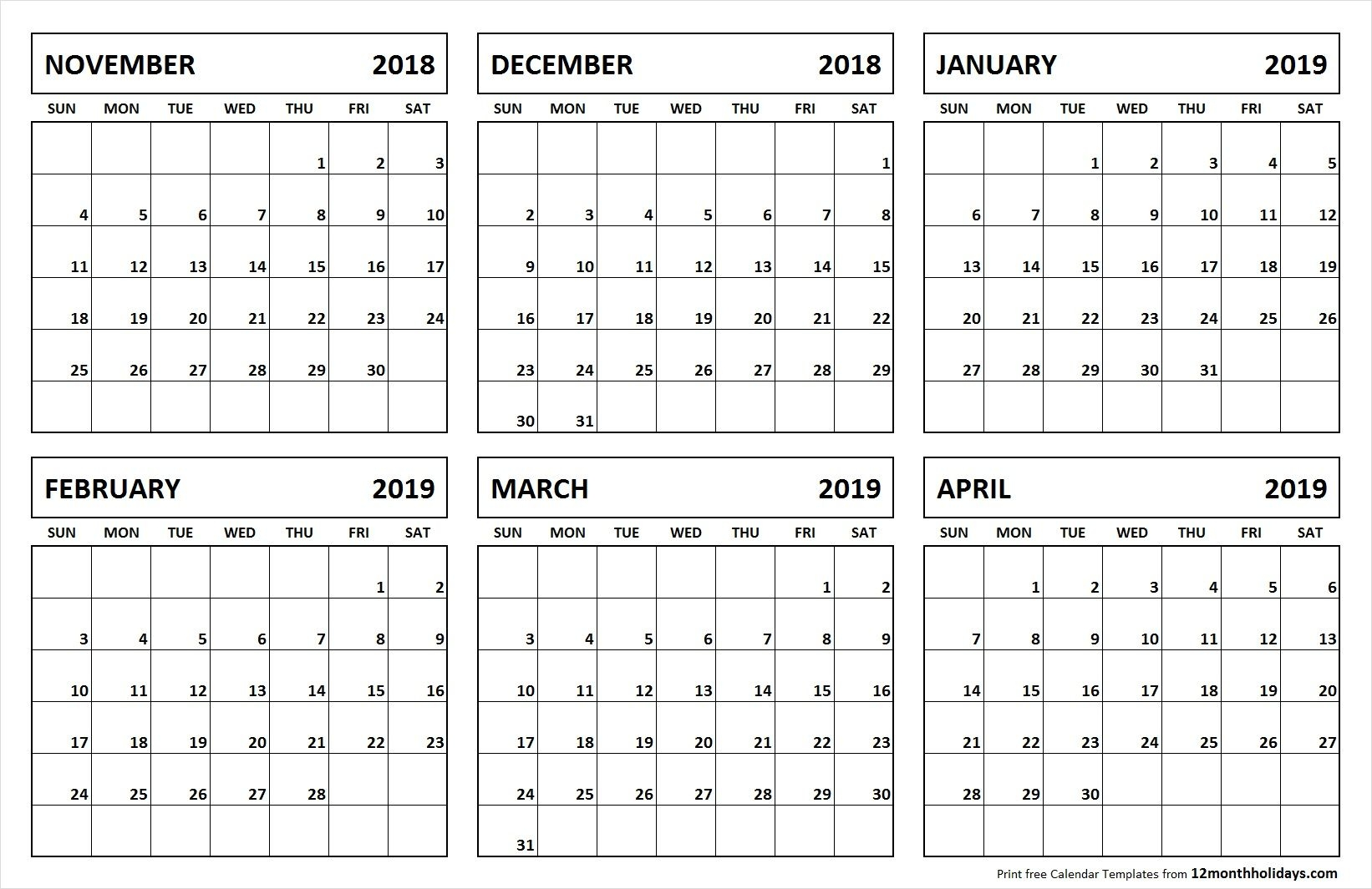 printable blank 6 month calendar november 2018 april 2019