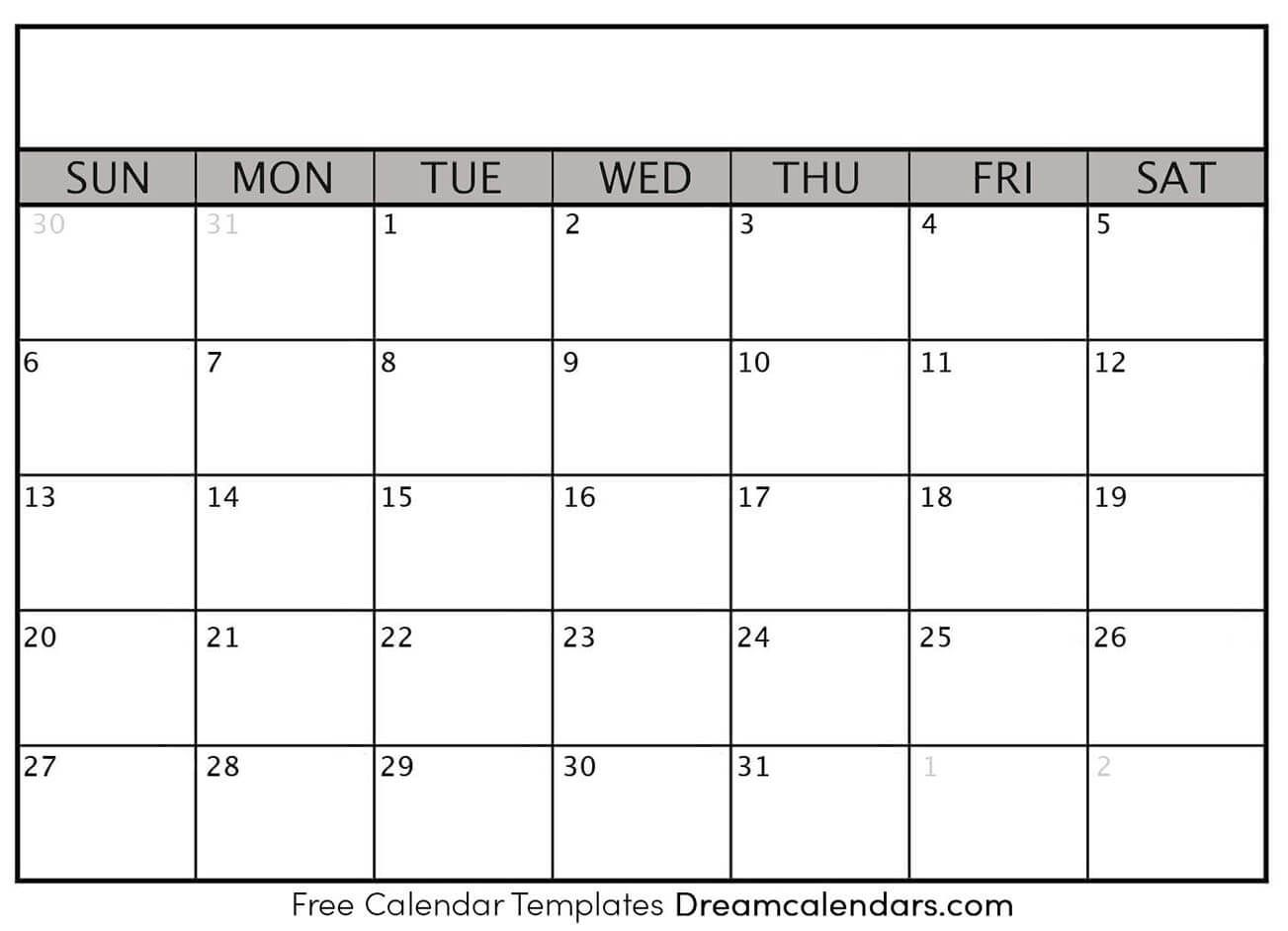 Printable Blank Calendar 2021   Dream Calendars