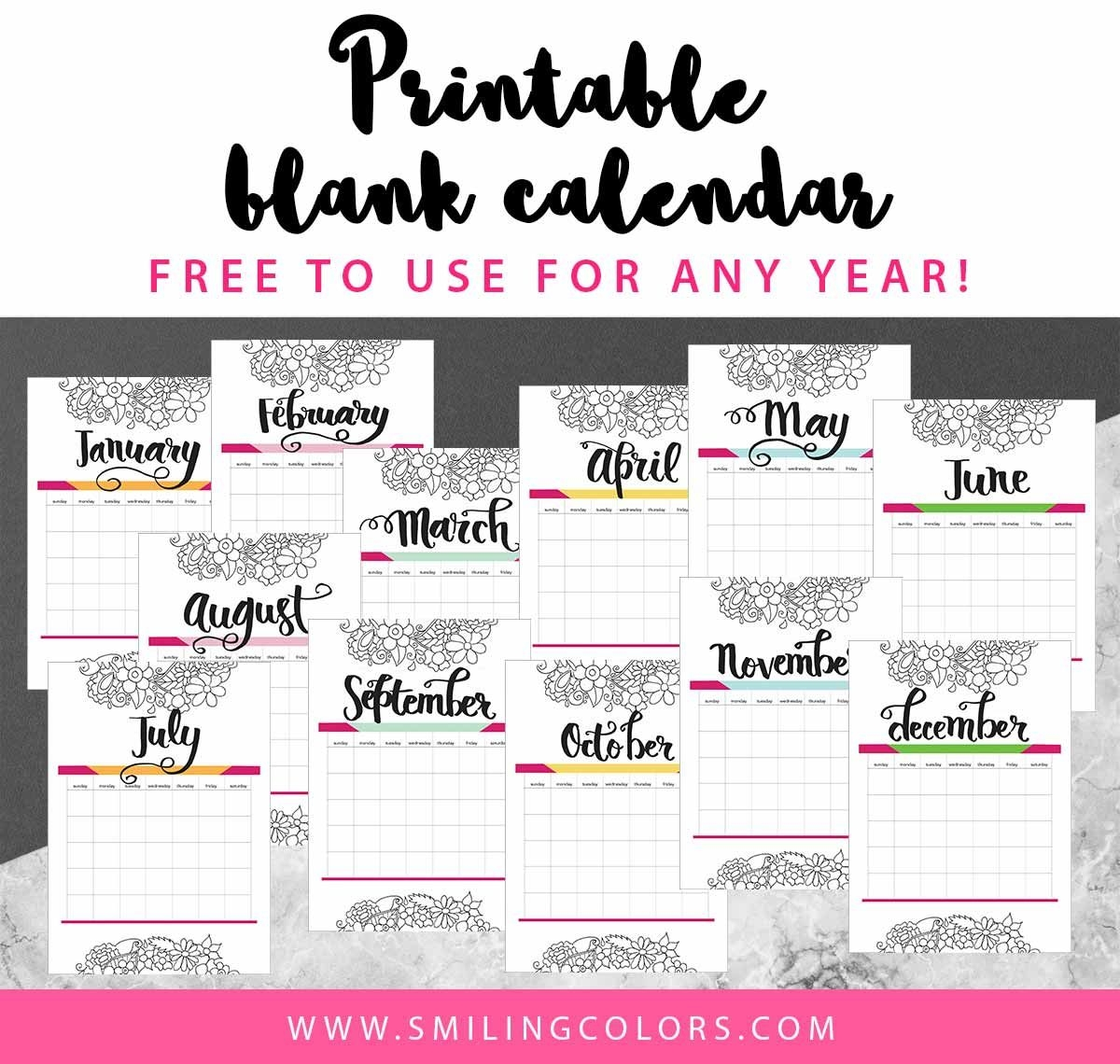 Printable Blank Calendar Free To Use For Any Year