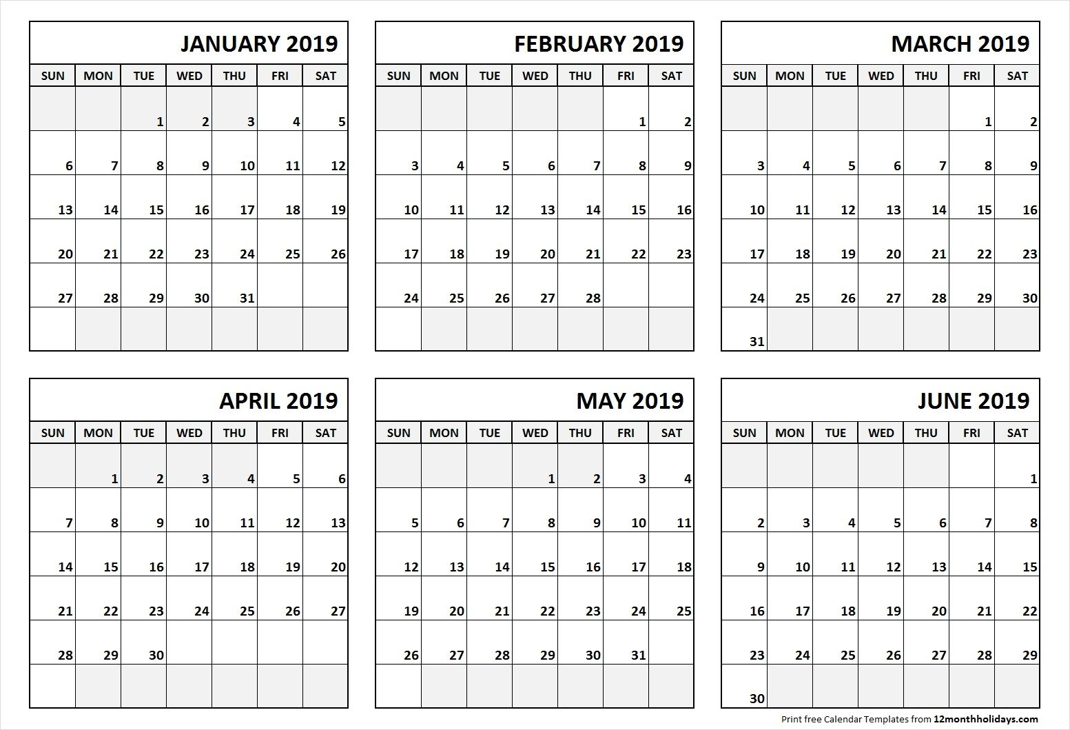 printable blank six month 6 month calendar january june 2019