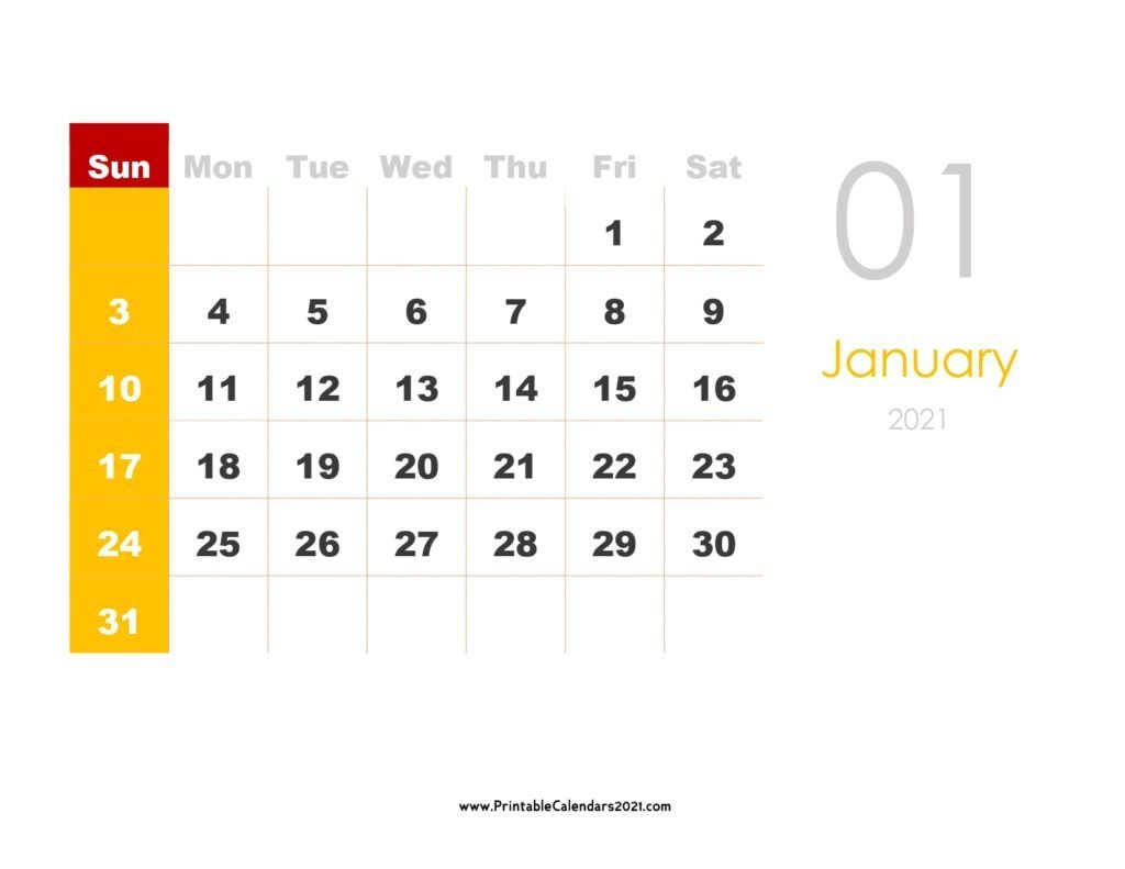 Printable Calendar 2021 With Holidays Yearly, Monthly, Doc