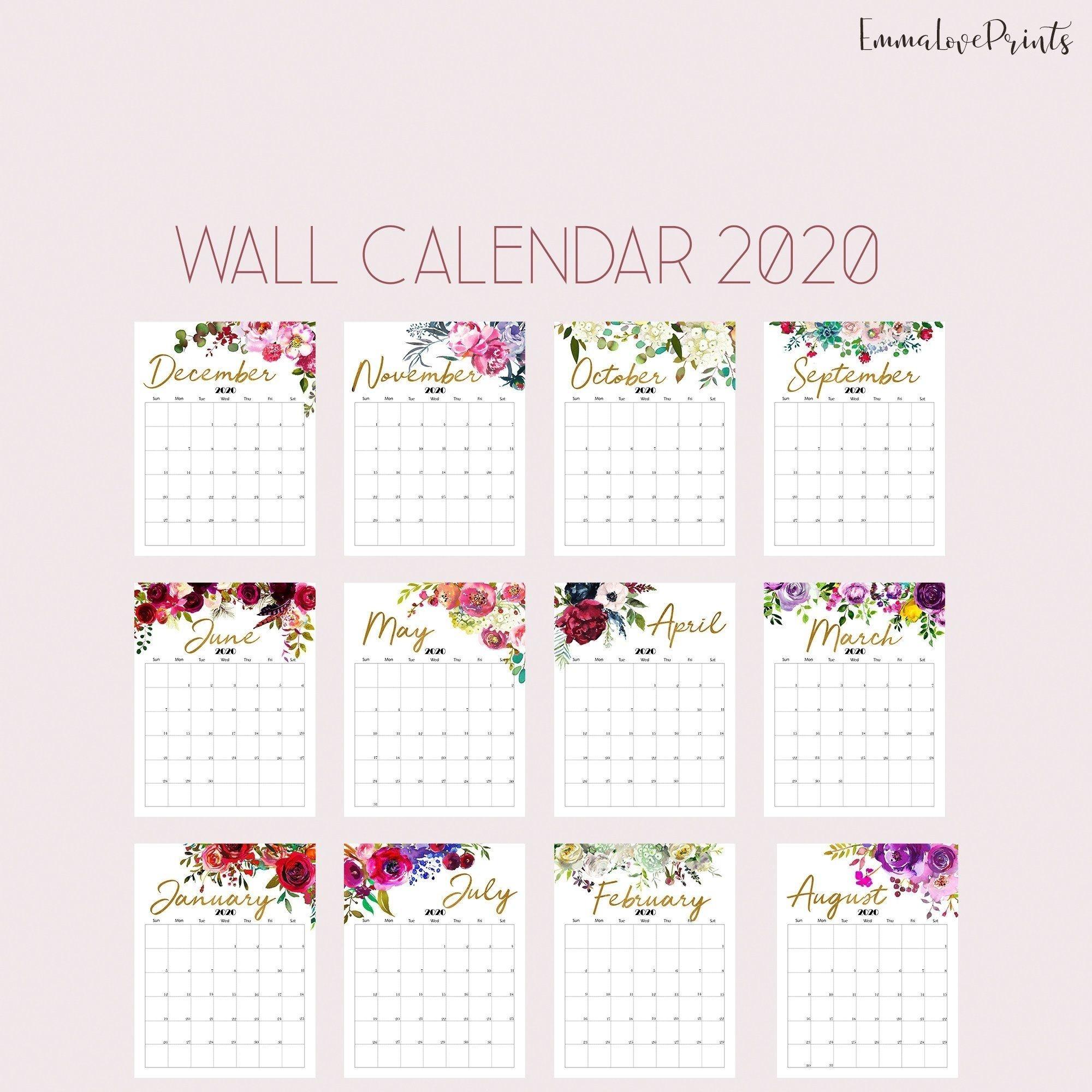 Printable Calendar 8 5×11 | Month Yearly Calendar For 2020