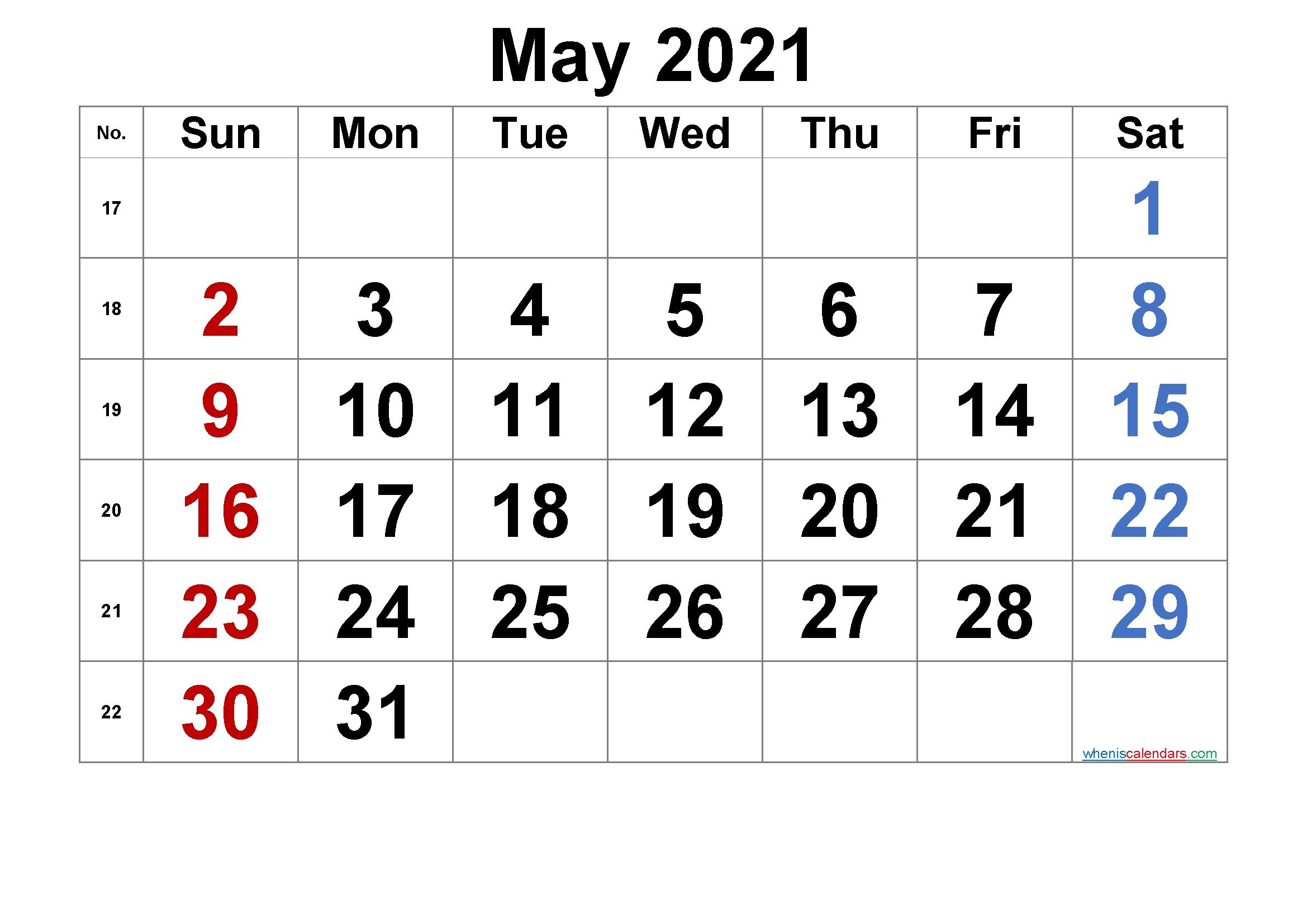 printable calendar may 2021 [free premium] | free printable