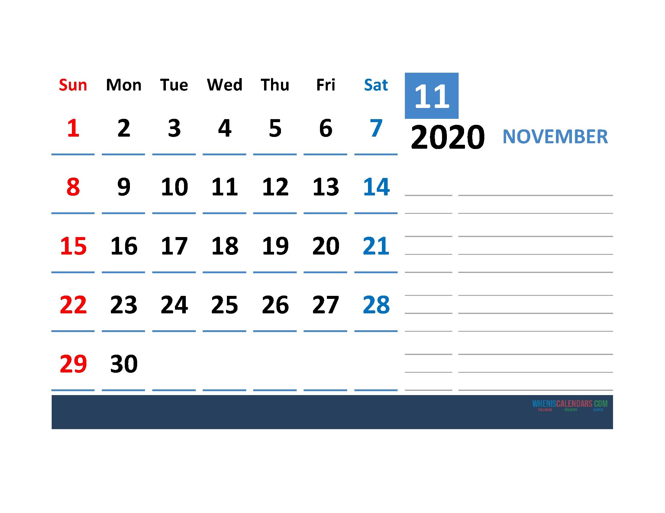 Printable Calendar Template November 2020 Calendar With