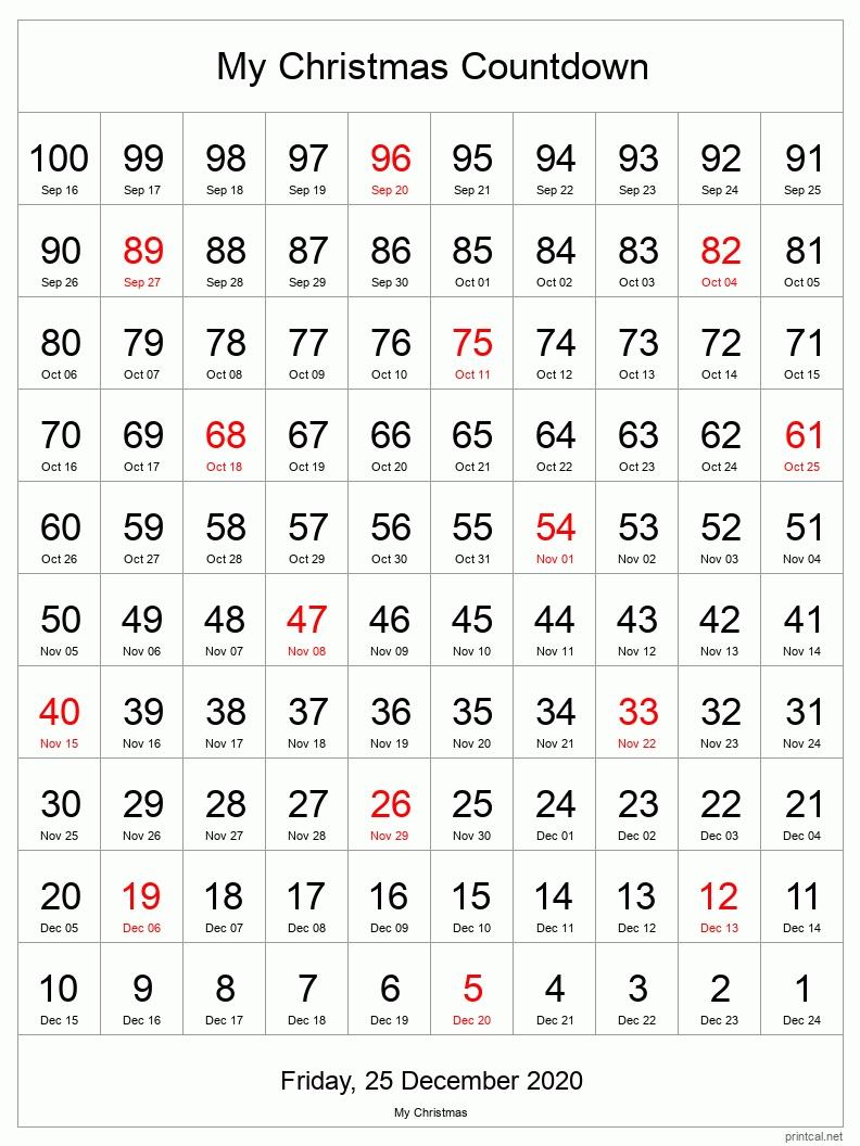 printable countdown calendar