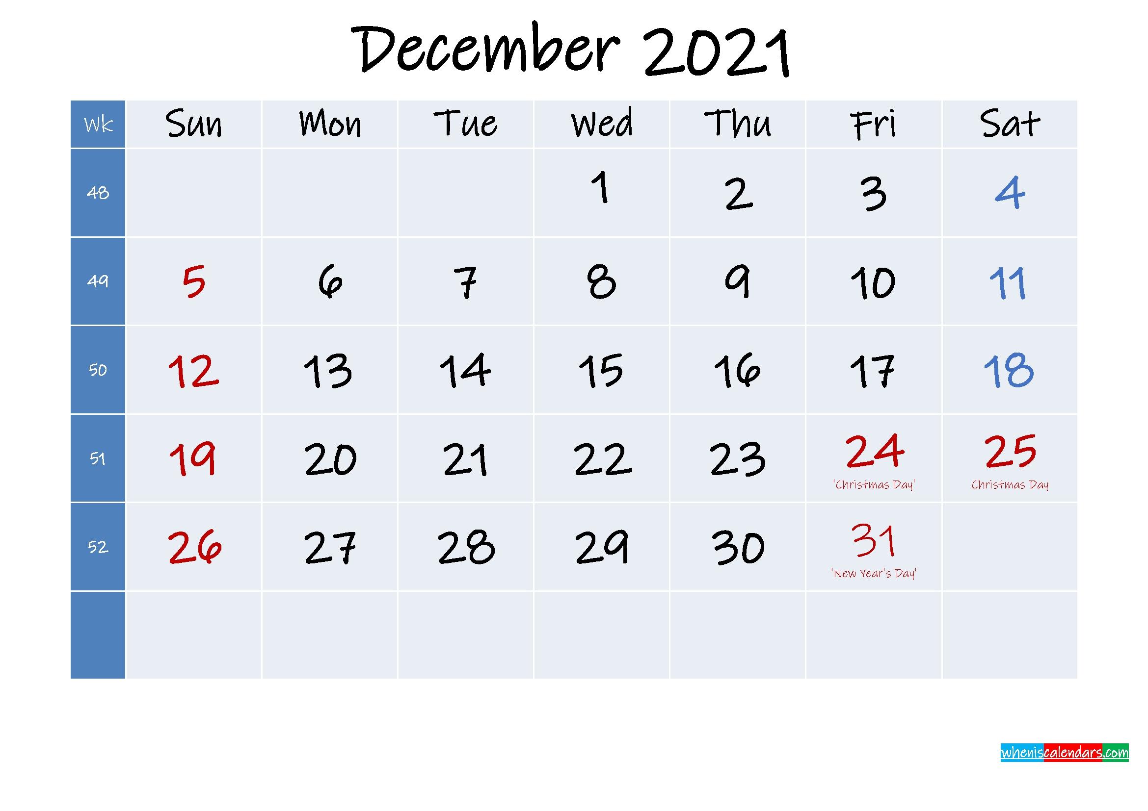Printable December 2021 Calendar With Holidays Template No