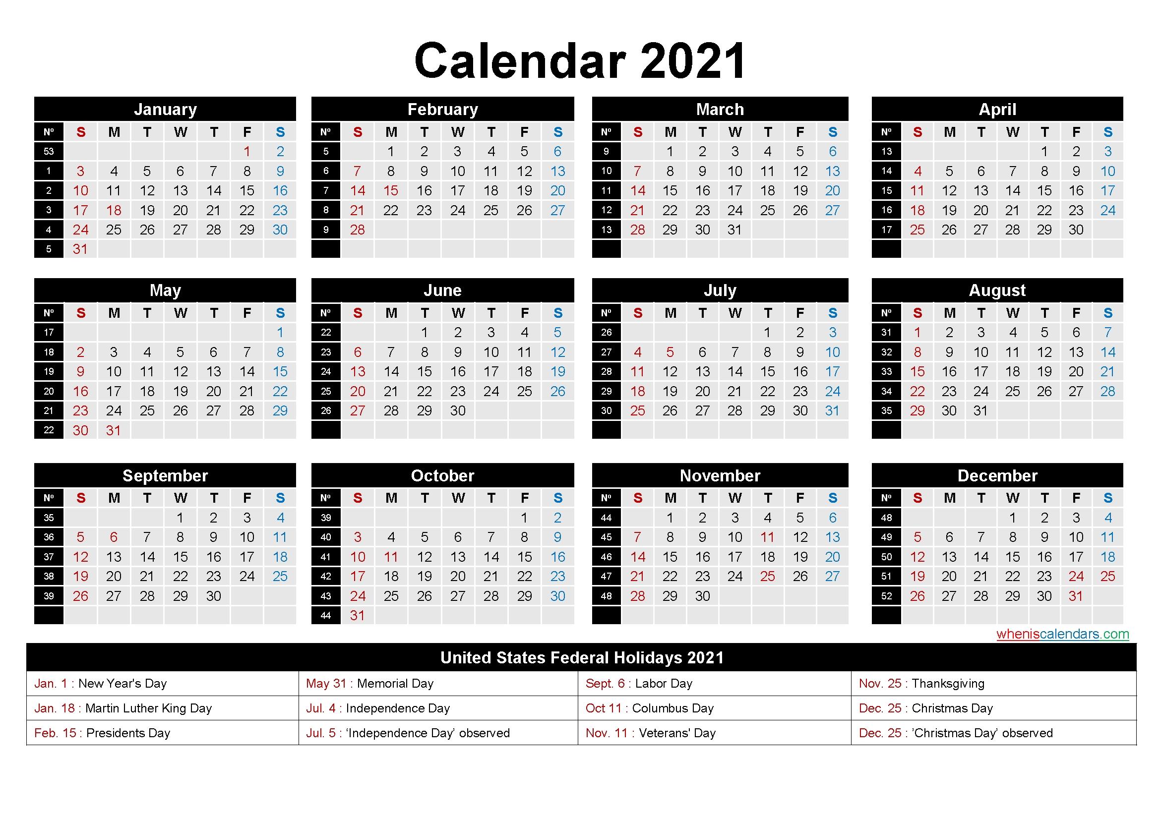 Printable Editable Calendar 2021 Word – Template No Ep21y7