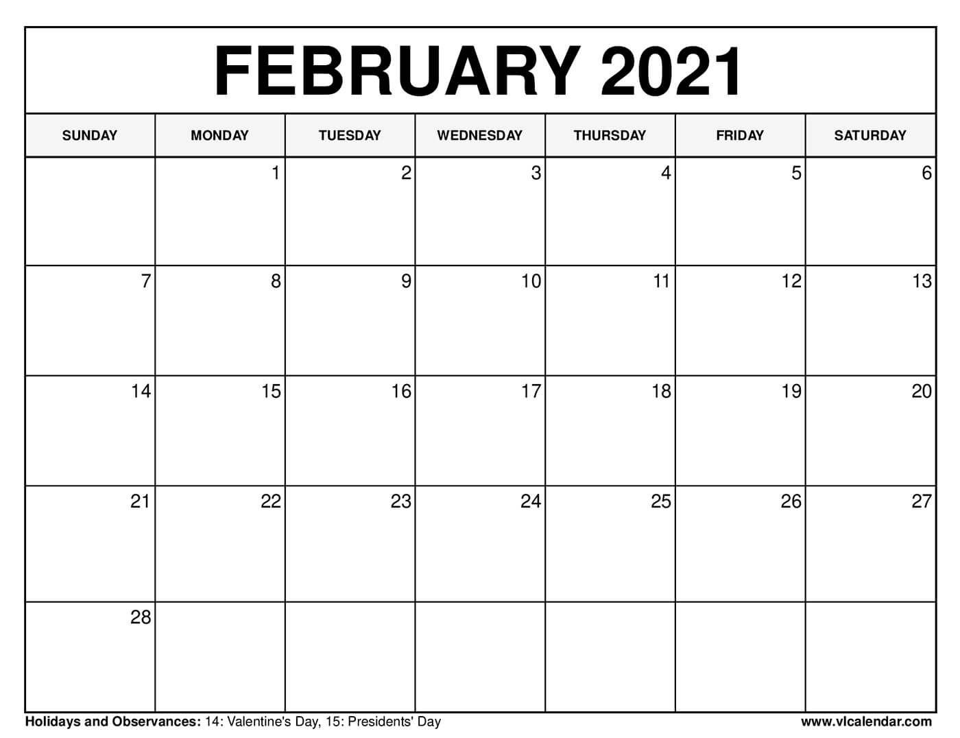 printable february 2021 calendars