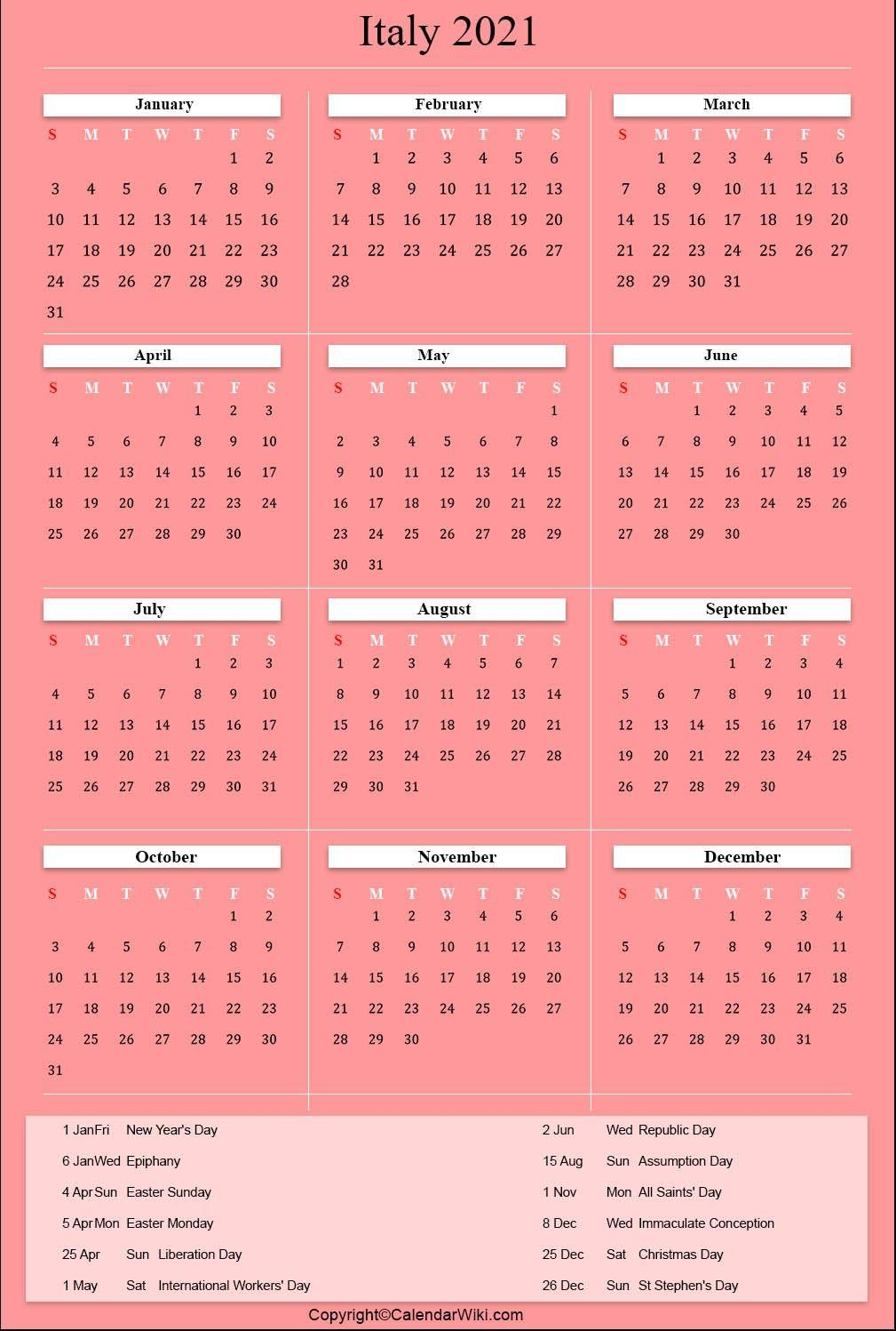 Printable Italy Calendar 2021 With Holidays [public Holidays]