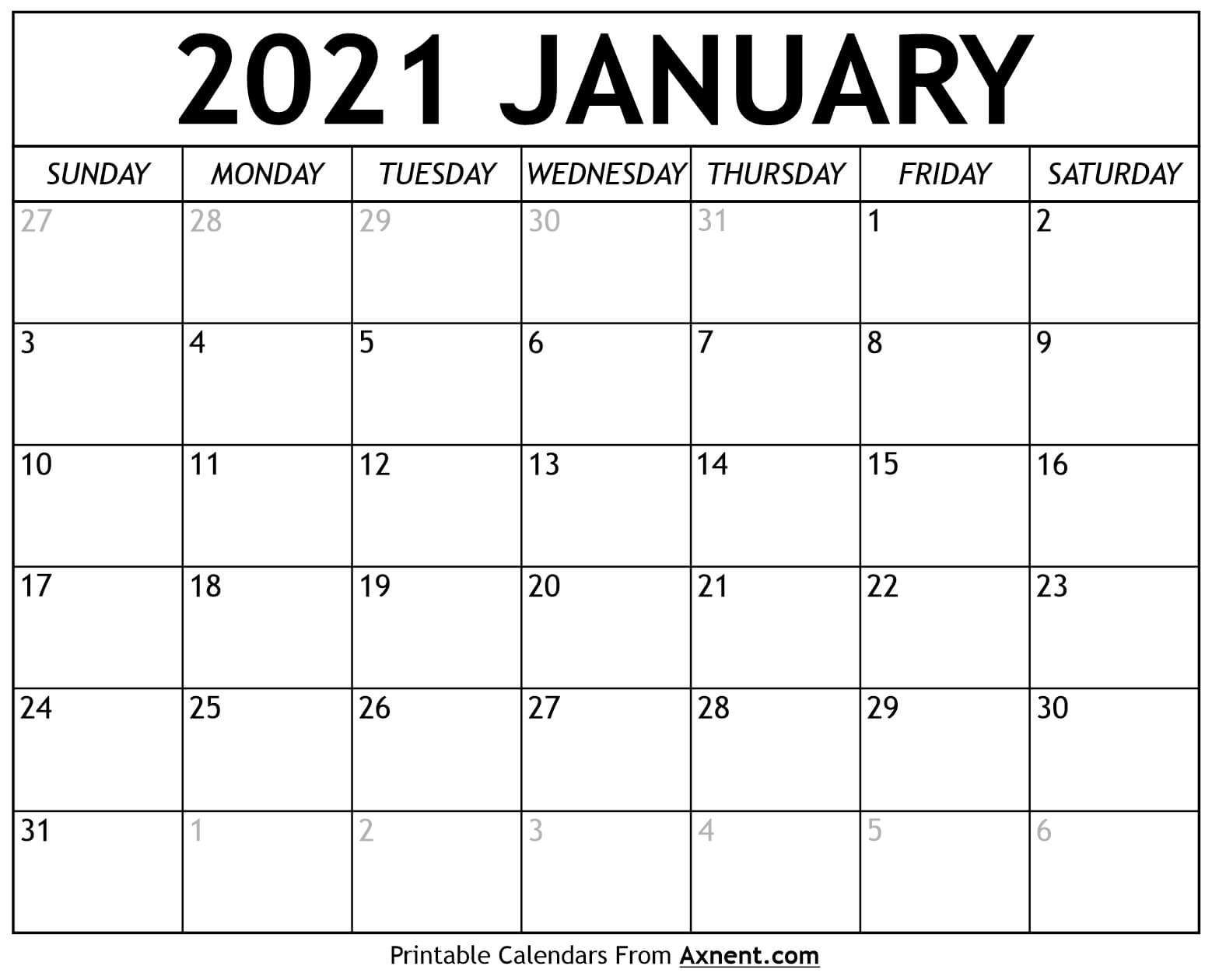 printable january 2021 calendar template time management