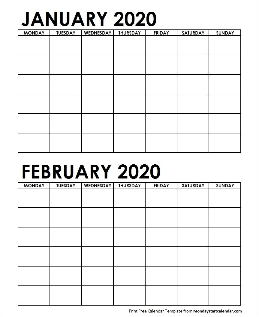 Printable January February 2020 Calendar Template Blank