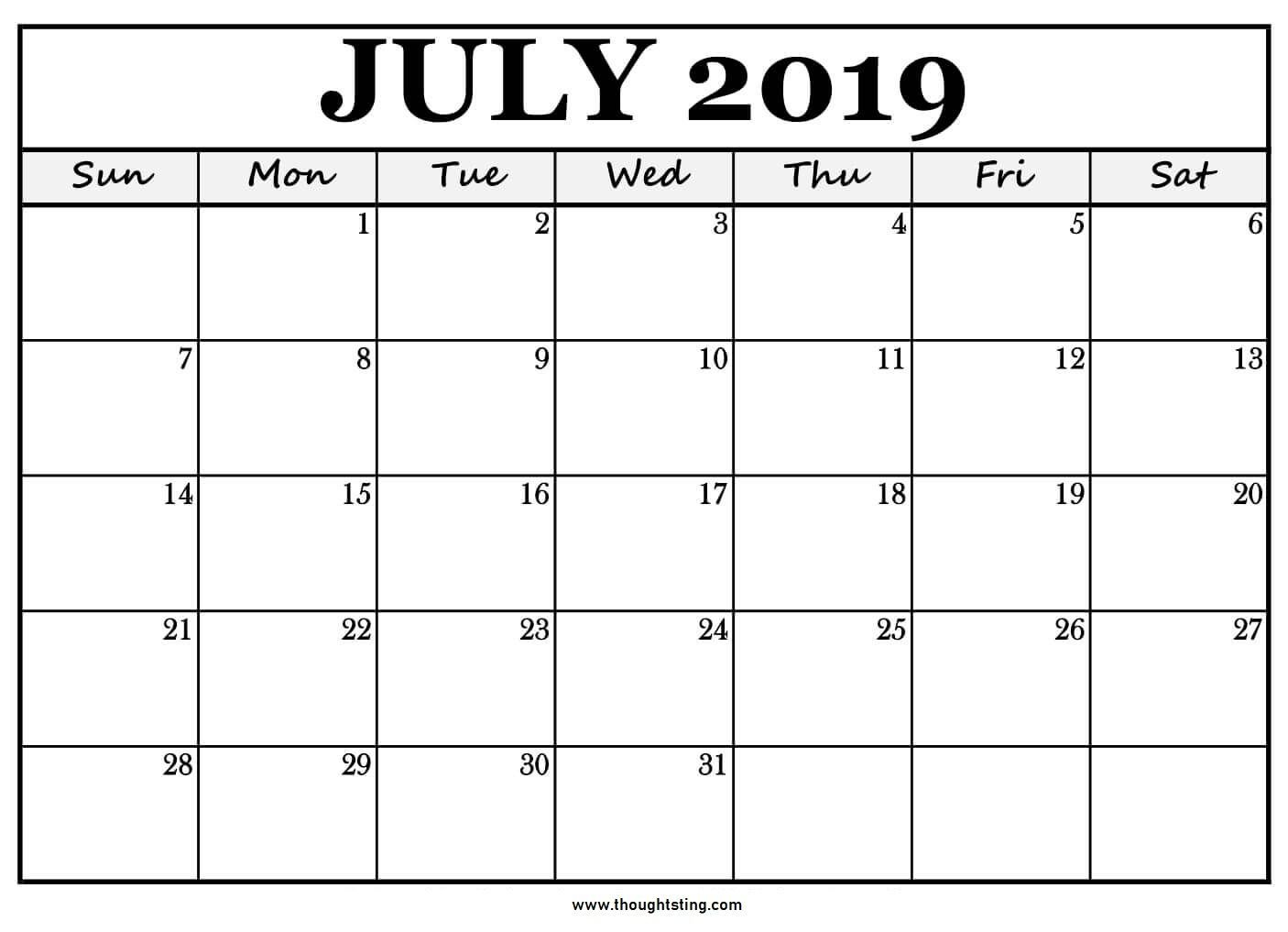 Printable July 2019 Calendar Large Boxes | Calendar