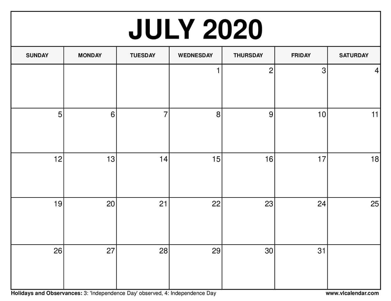 Printable July 2020 Calendars