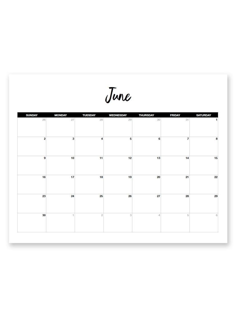 Printable June 2019 Calendar (minimal) Printables For Free