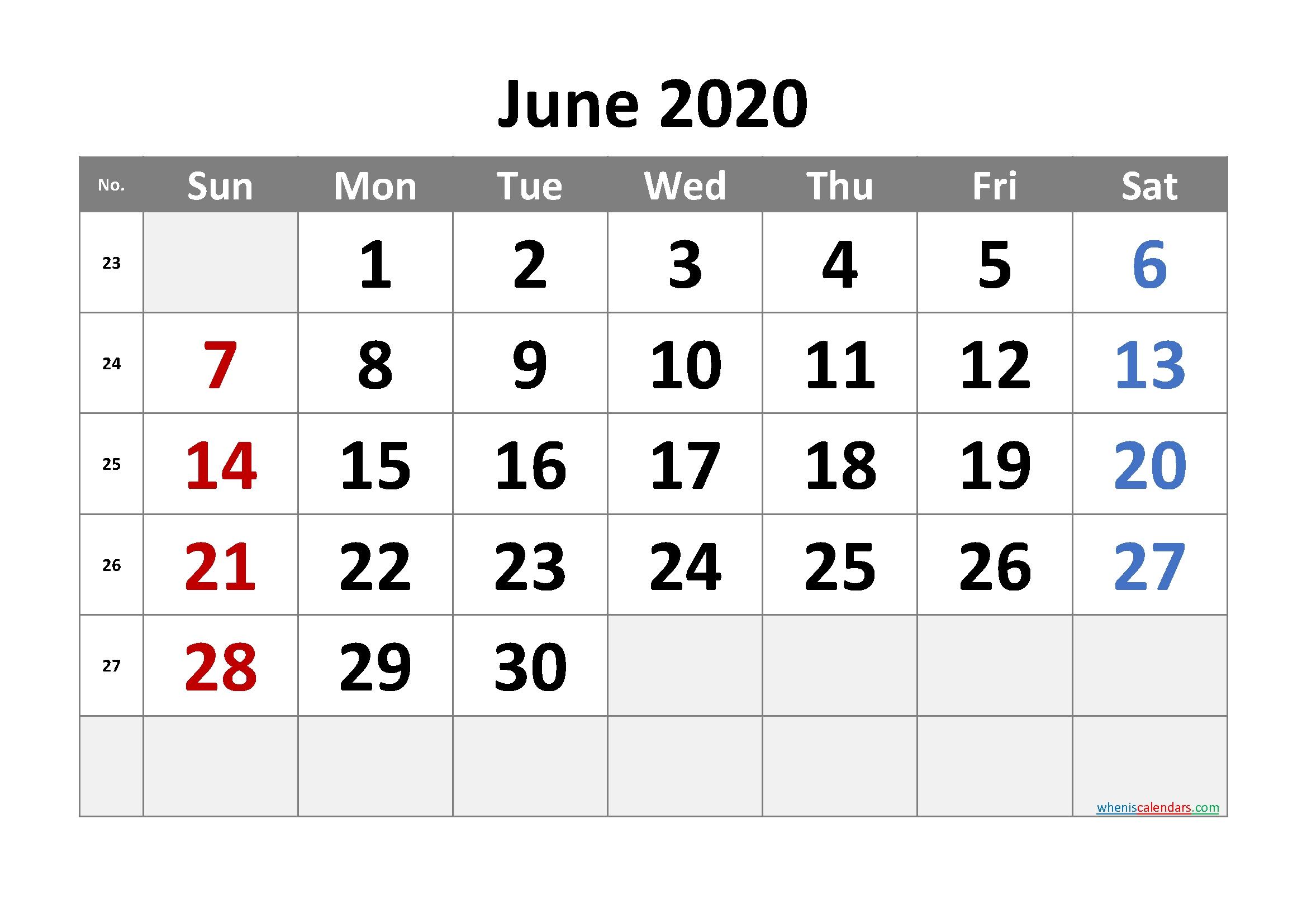 printable june 2020 calendar with week numbers – free