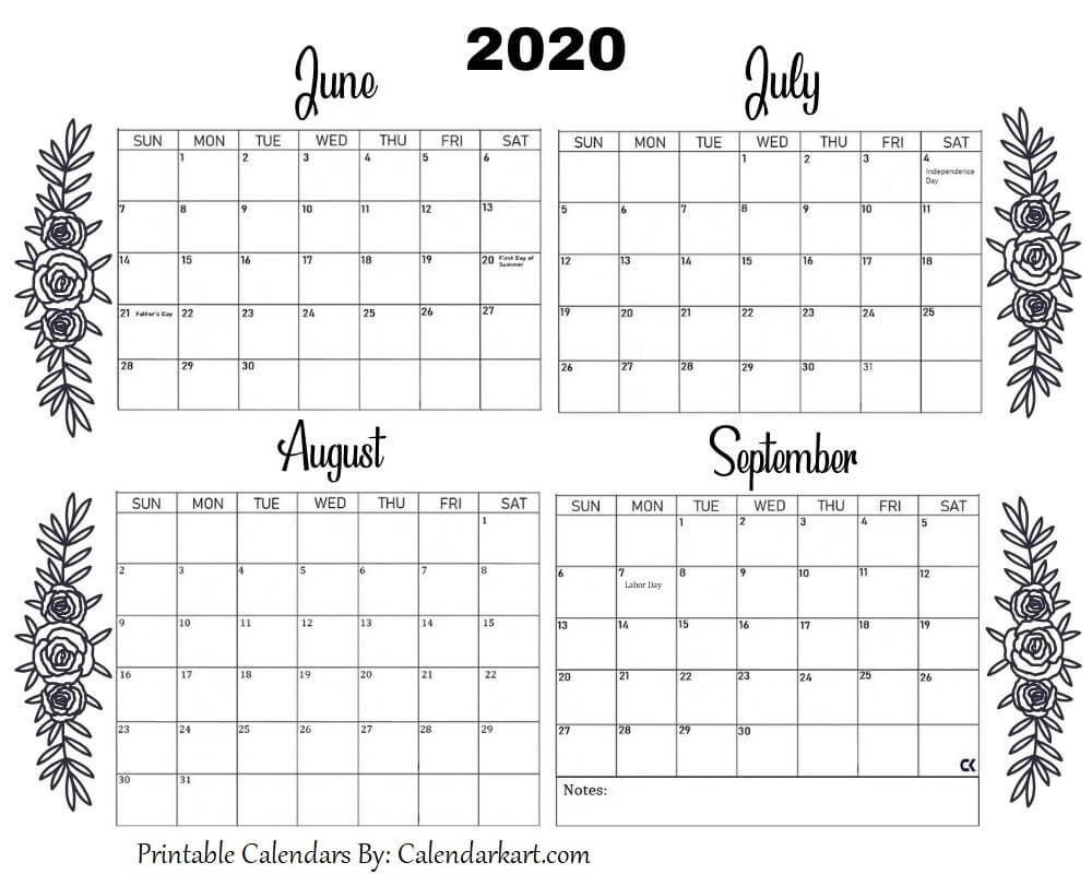 Printable June To September Calendar 2020 In 2020