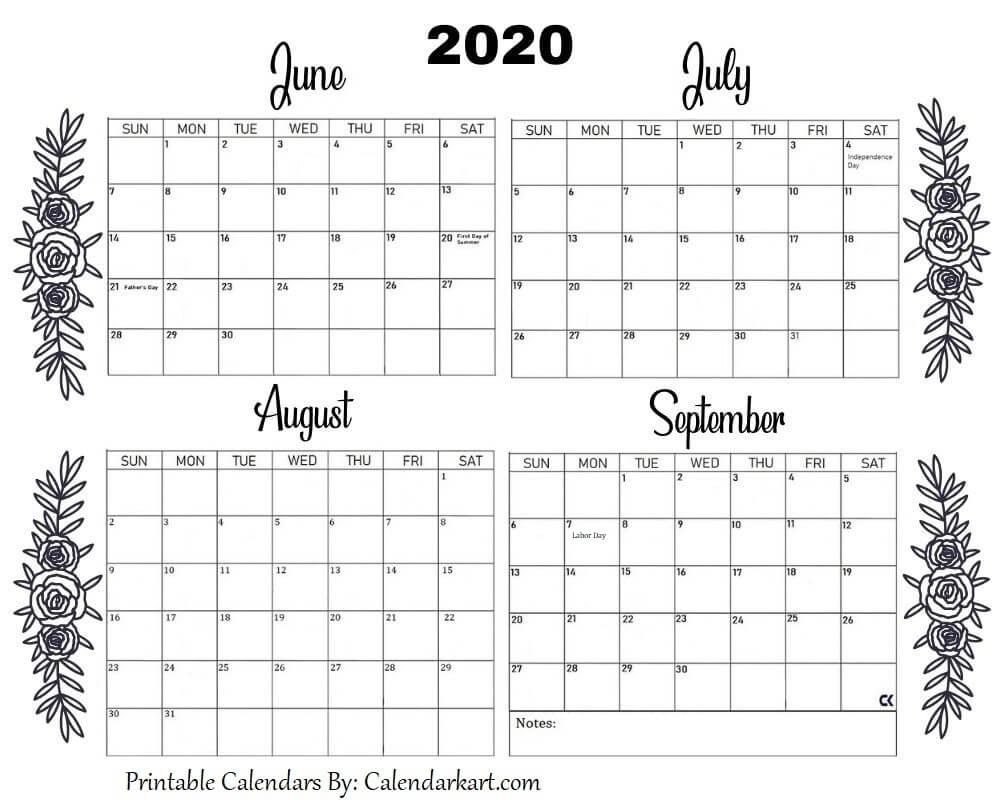 printable june to september calendar 2020 in 2020