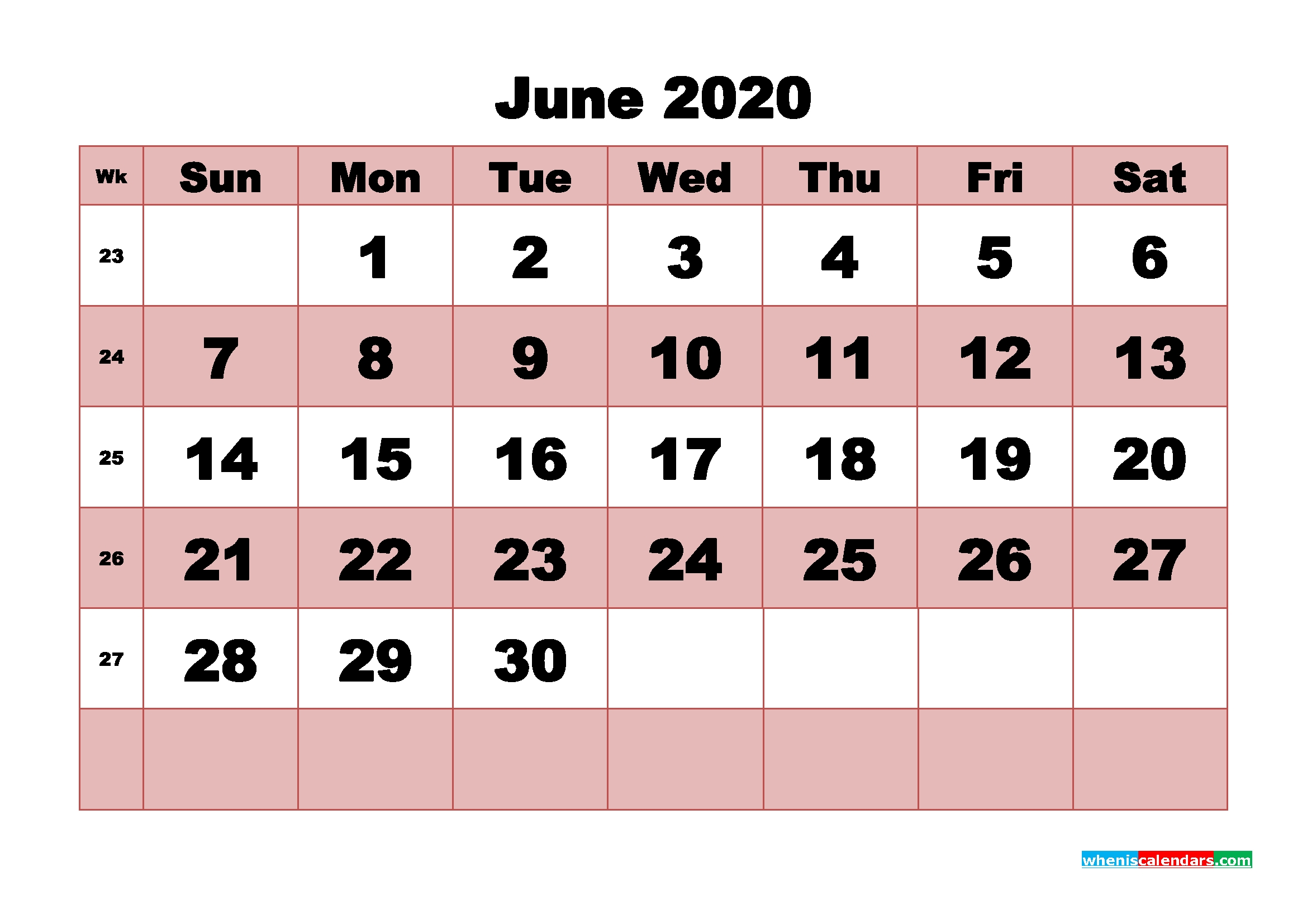 printable monthly calendar 2020 june with week numbers