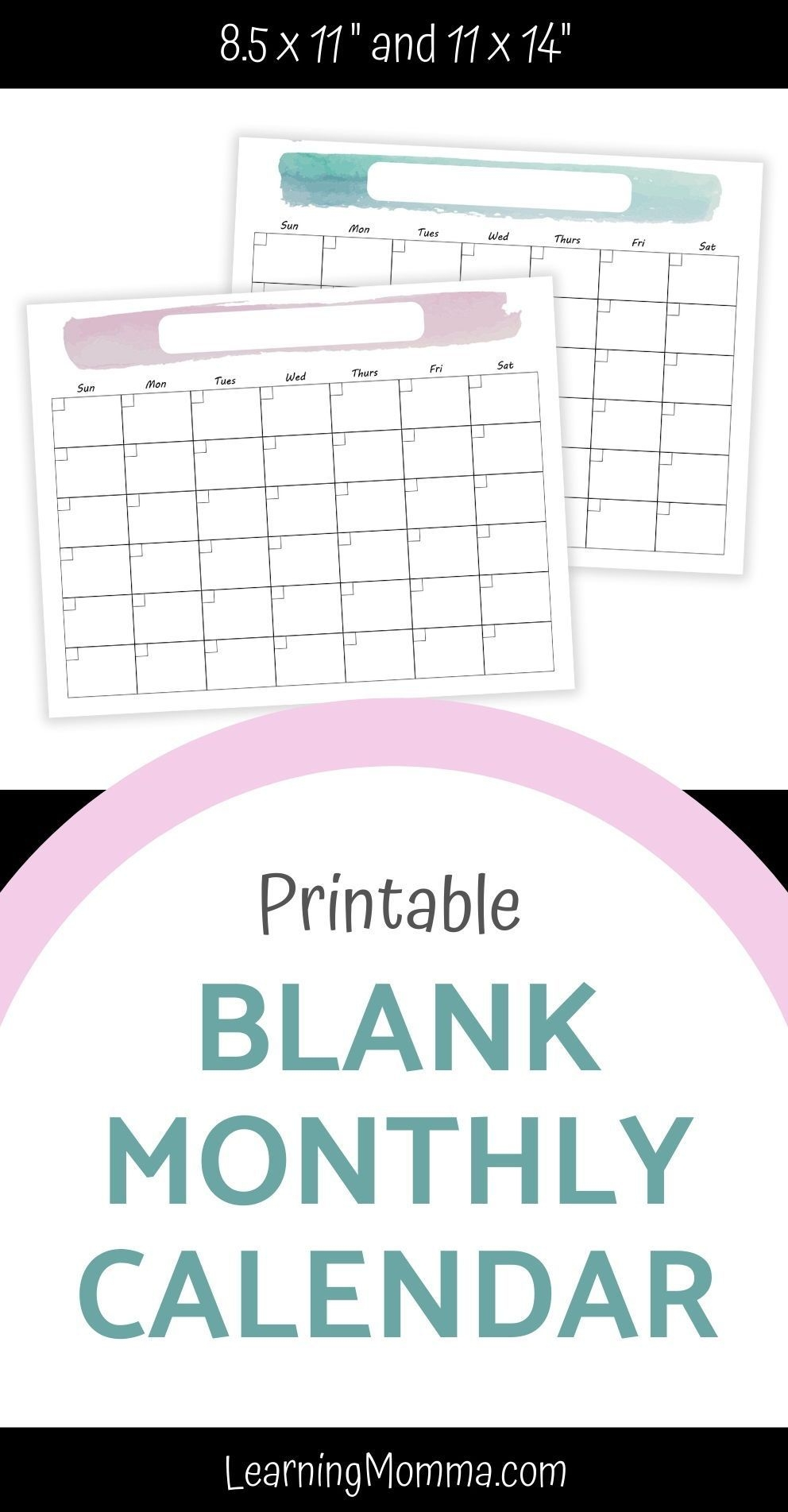 "printable monthly calendar 8 5x11"" or 11x14"" with"