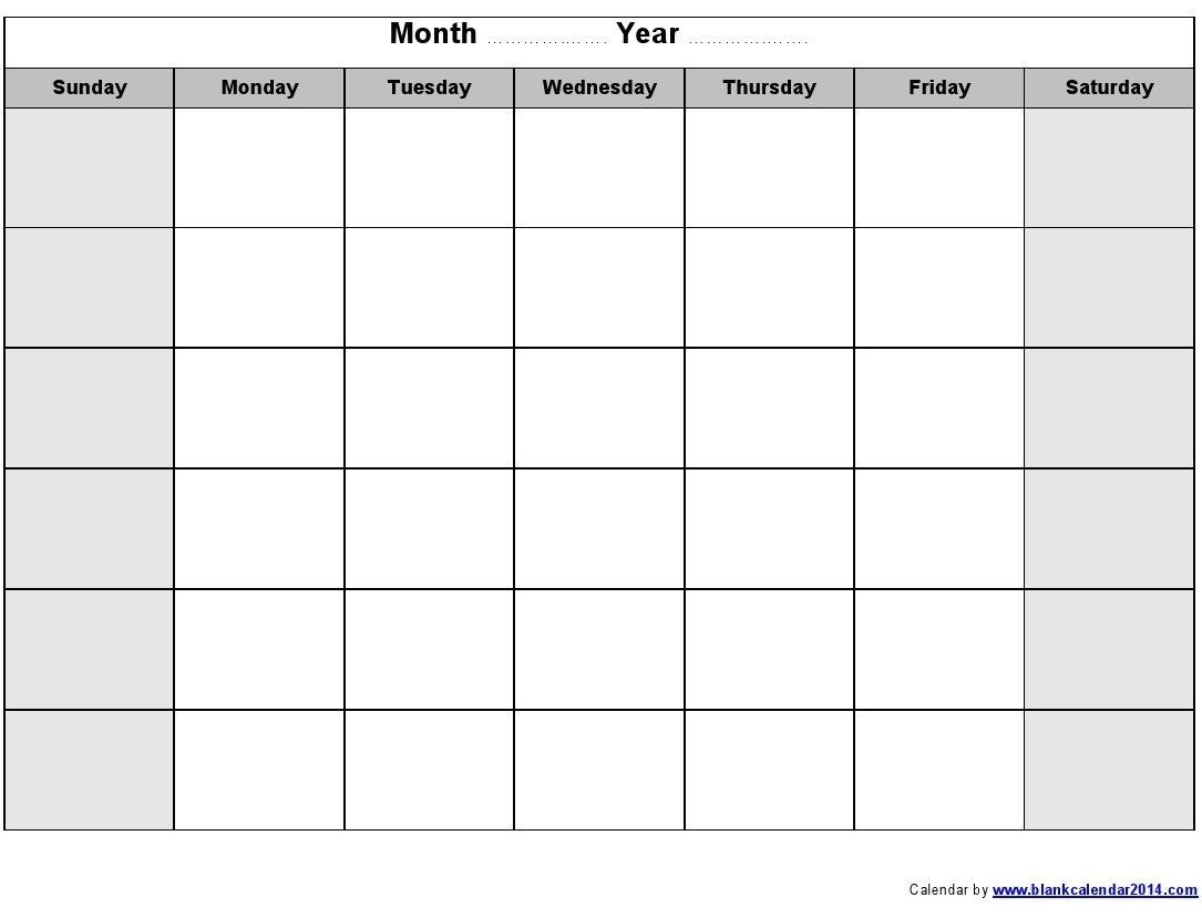 Printable Monthly Calendar Monday Through Friday | Monthly