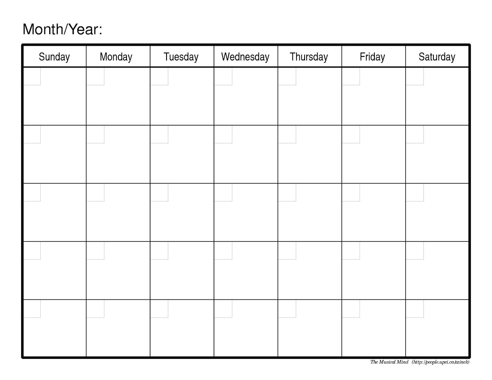 printable monthly calendar without dates | monthly calendar