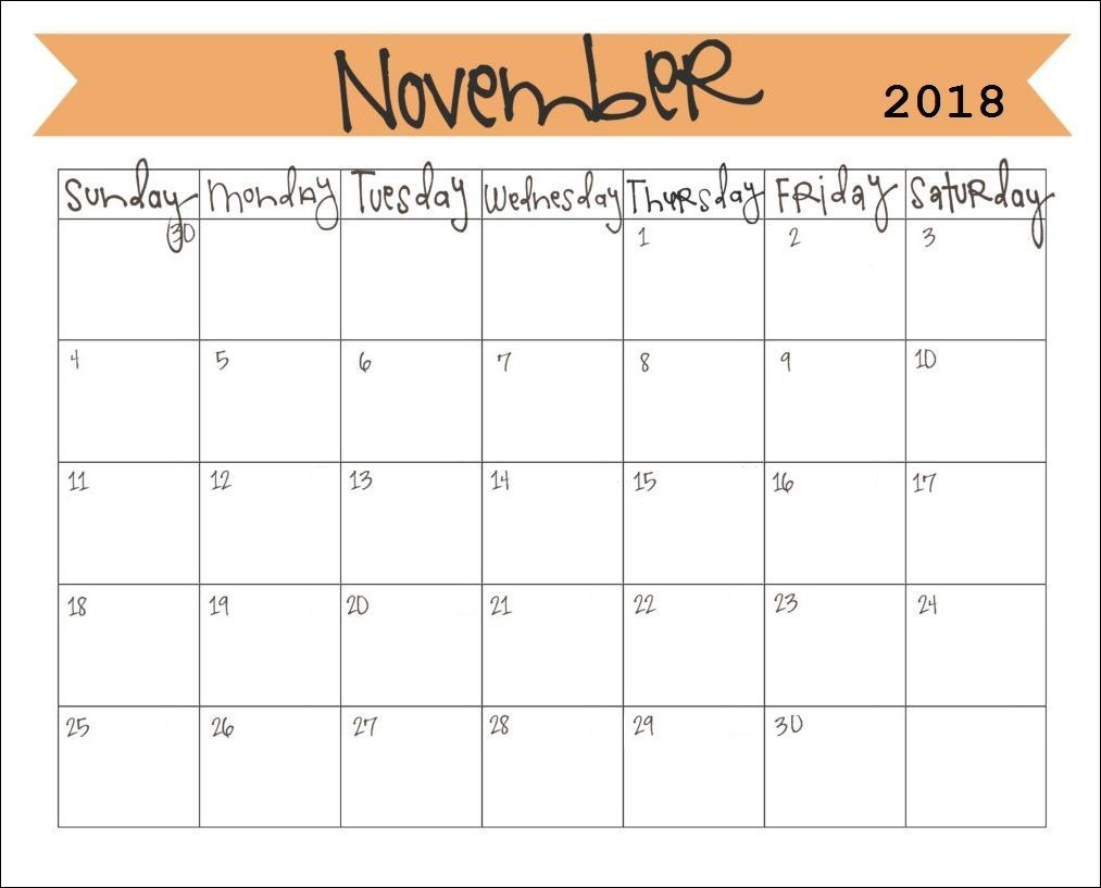 Printable November 2018 Monthly Calendar | November Calendar