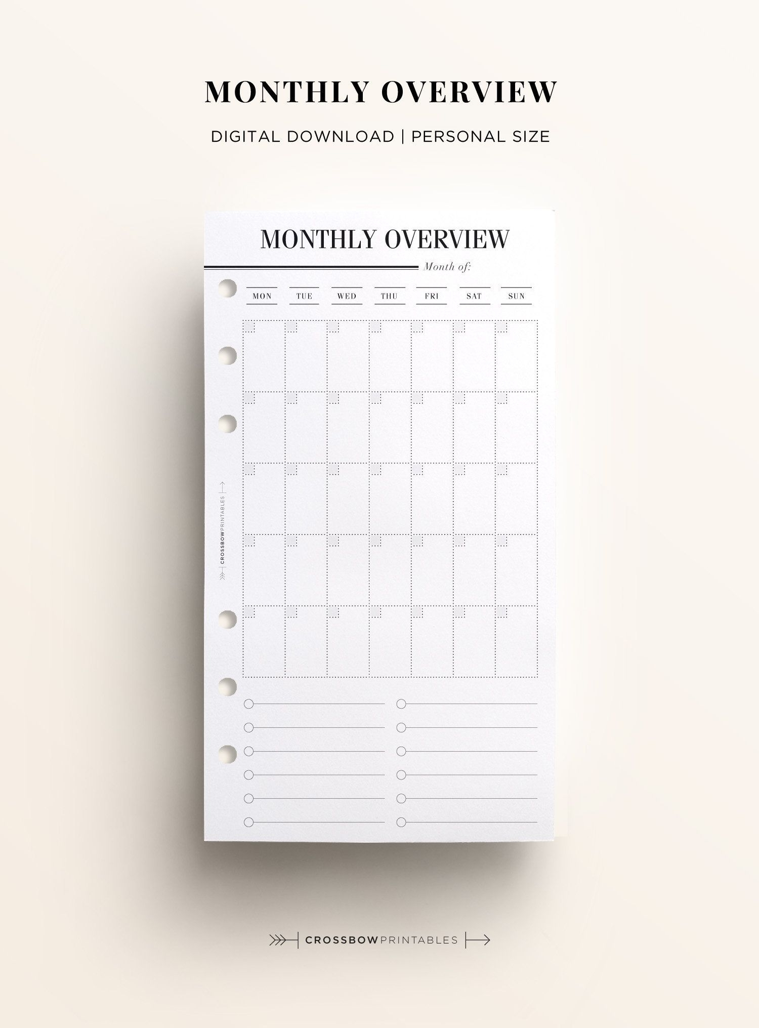 printable personal monthly overview, monthly schedule & calendar, printable personal size month on one page, at a glance