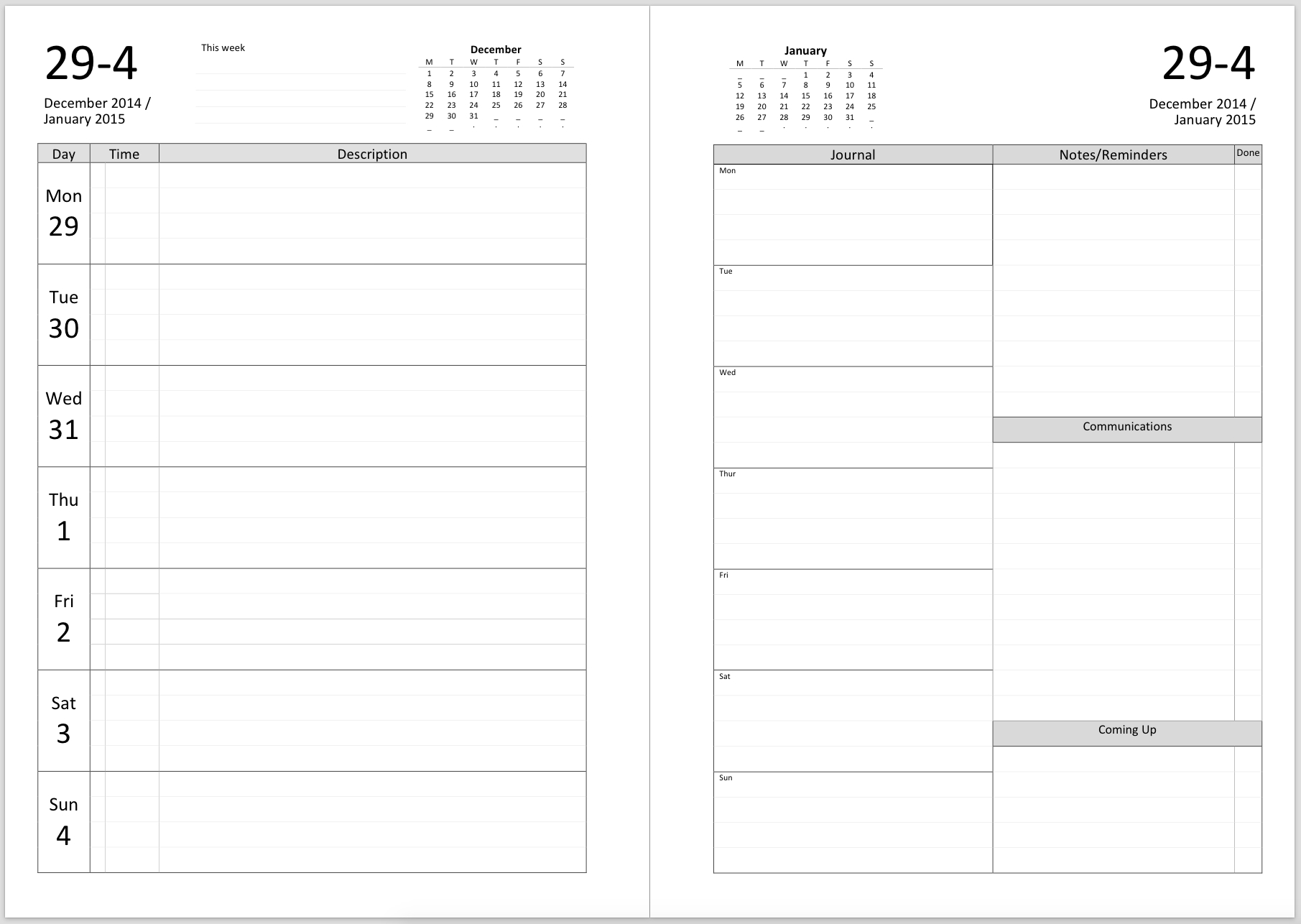 printable weekly planner template | weekly planner printable