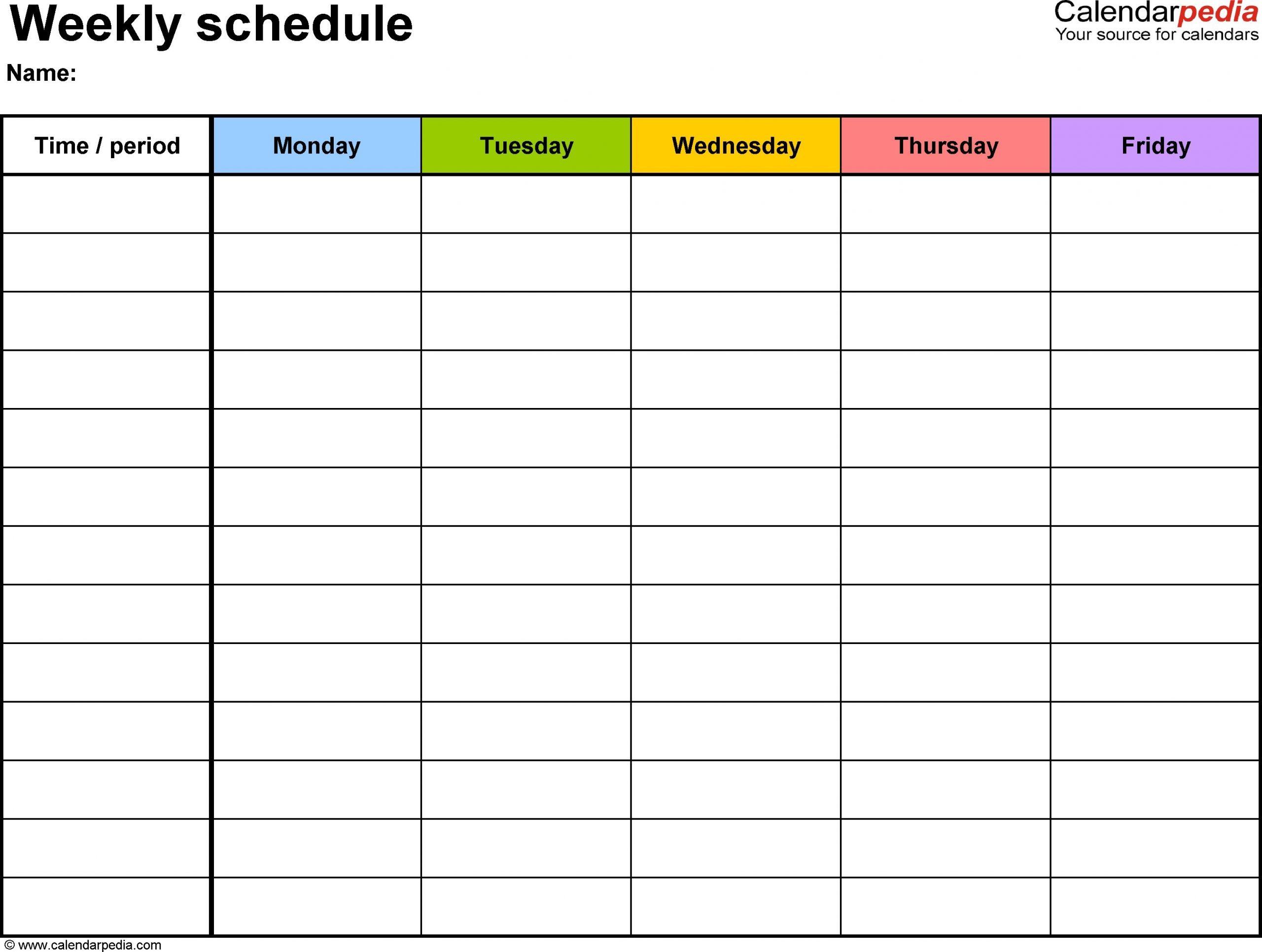printable weekly schedule template | room surf
