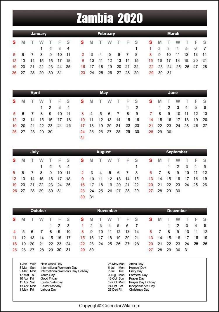 Printable Zambia Calendar 2020 With Holidays [public Holidays]