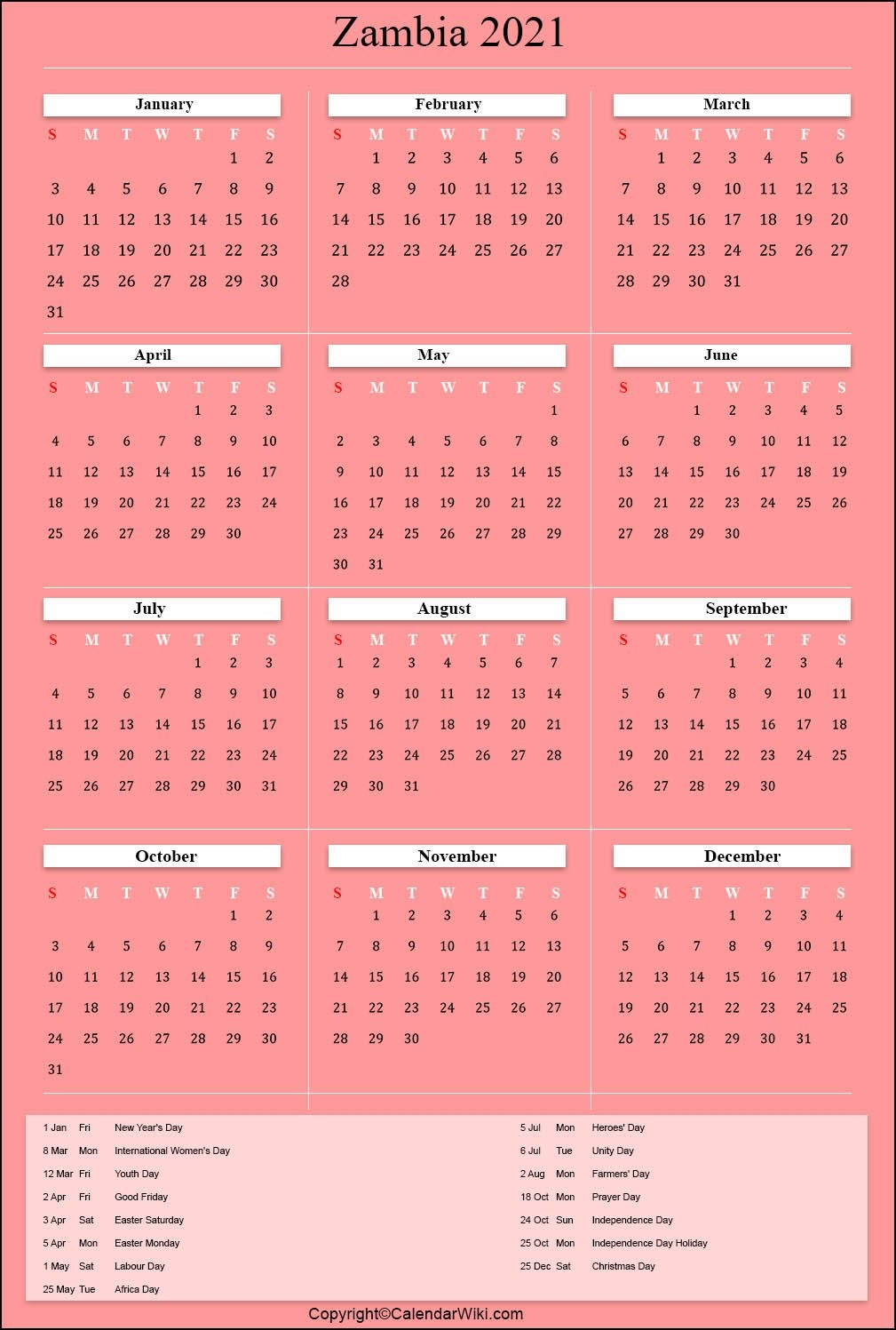 printable zambia calendar 2021 with holidays [public holidays]
