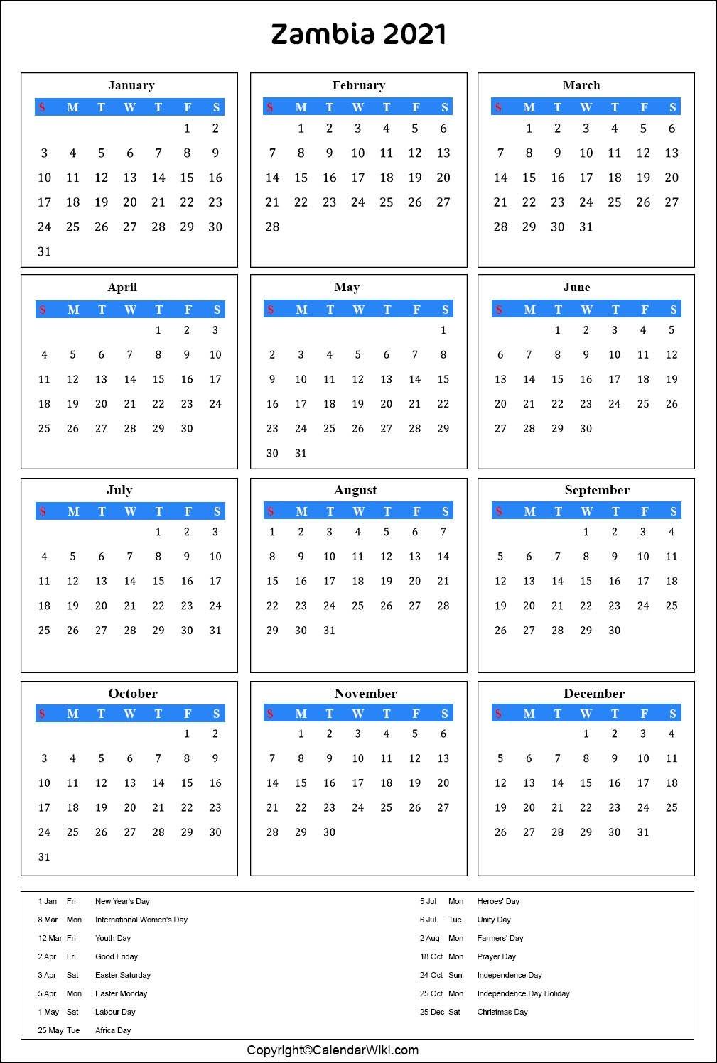 Printable Zambia Calendar 2021 With Holidays [public Holidays]