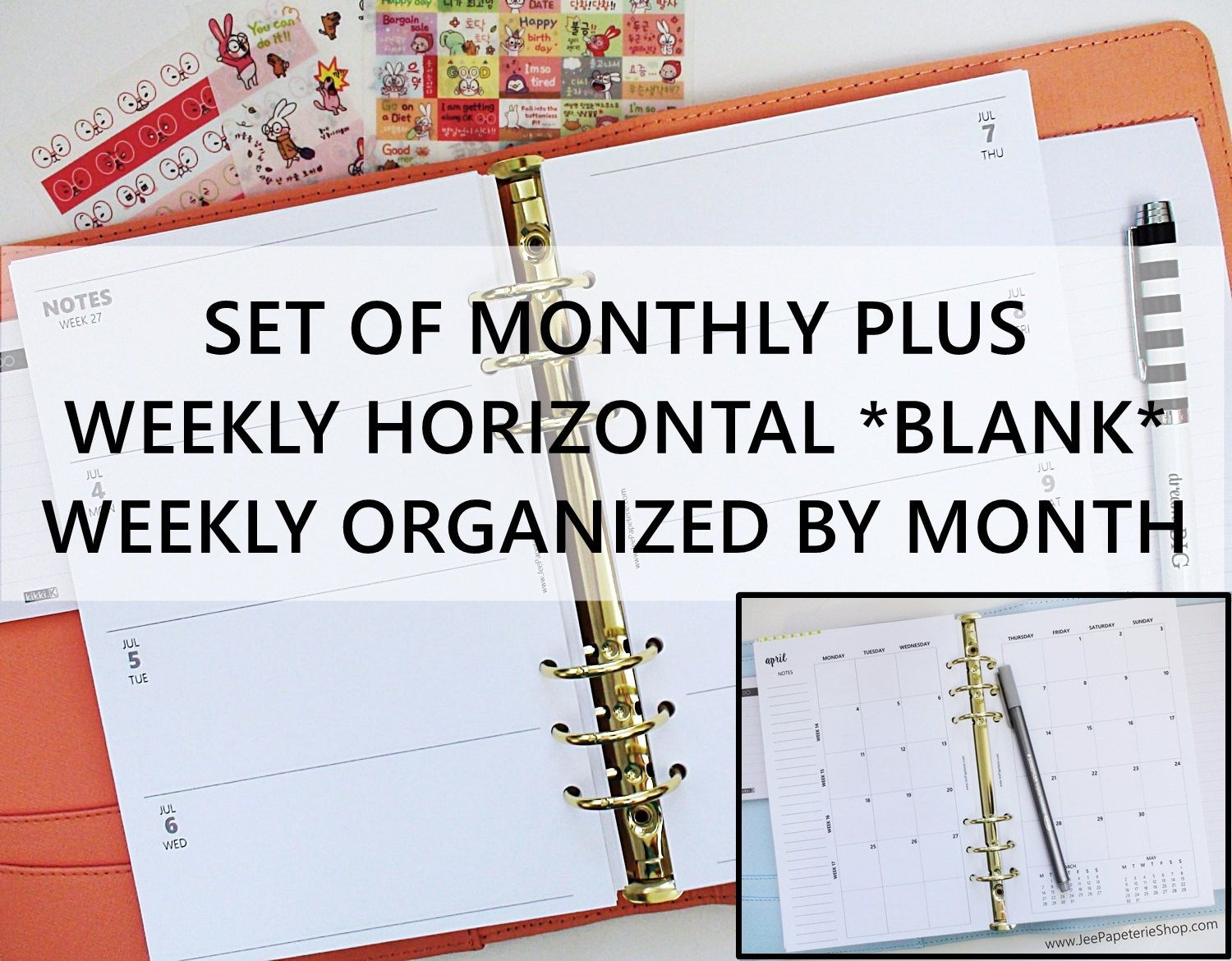 """printed half letter size: set of monthly weekly *blank space* horizontal planner inserts (5 5""""x8 5"""" fits into a5 planners)"""