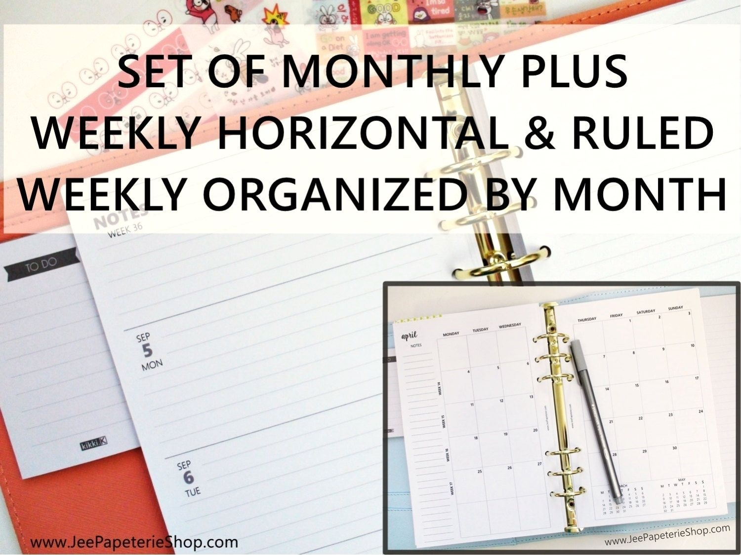 """Printed Half Letter Size: Set Of Monthly Weekly *ruled* Horizontal Planner Inserts (5 5""""x8 5"""" Fits Into A5 Planners)"""