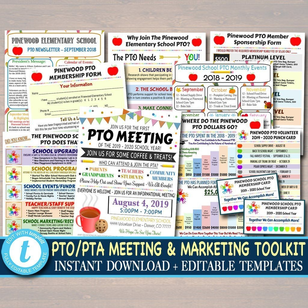 Pto Printable Marketing Toolkit Set Fundraiser Flyer, Pto