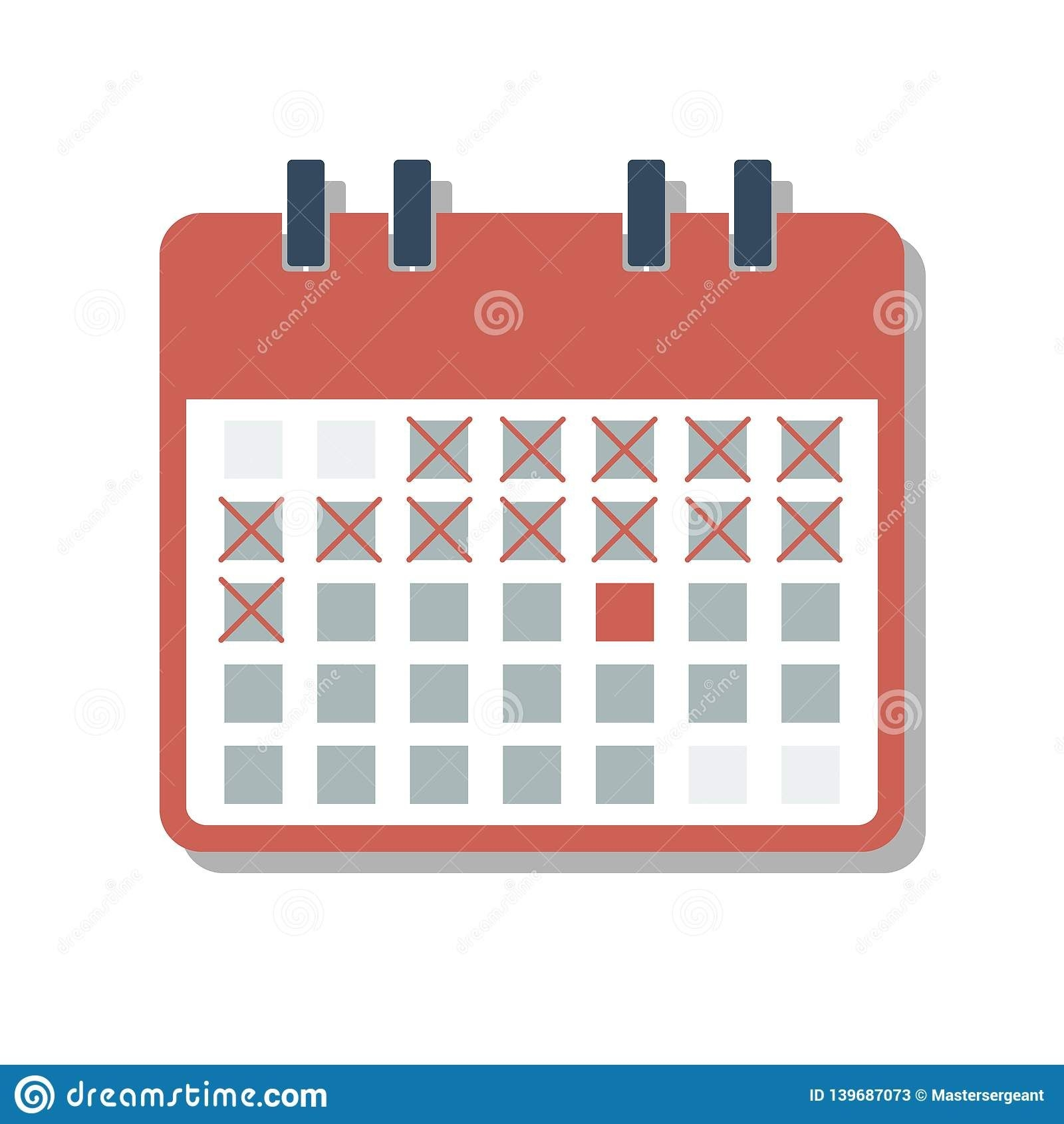 red calendar grid with cross marked days, countdown days
