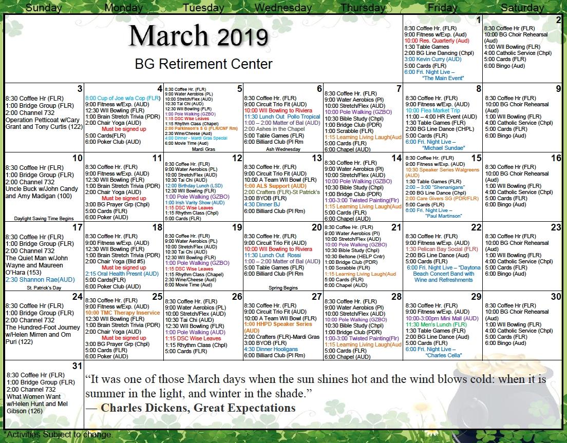 retirement march calendar bishop's glen retirement center