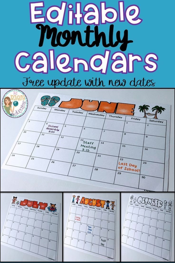 save time in the classroom with these fun, editable, monthly