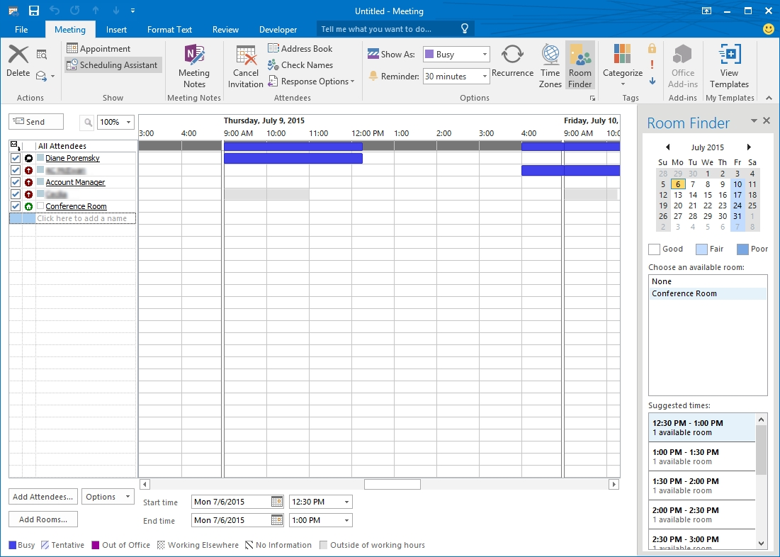 scheduling resources for outlook